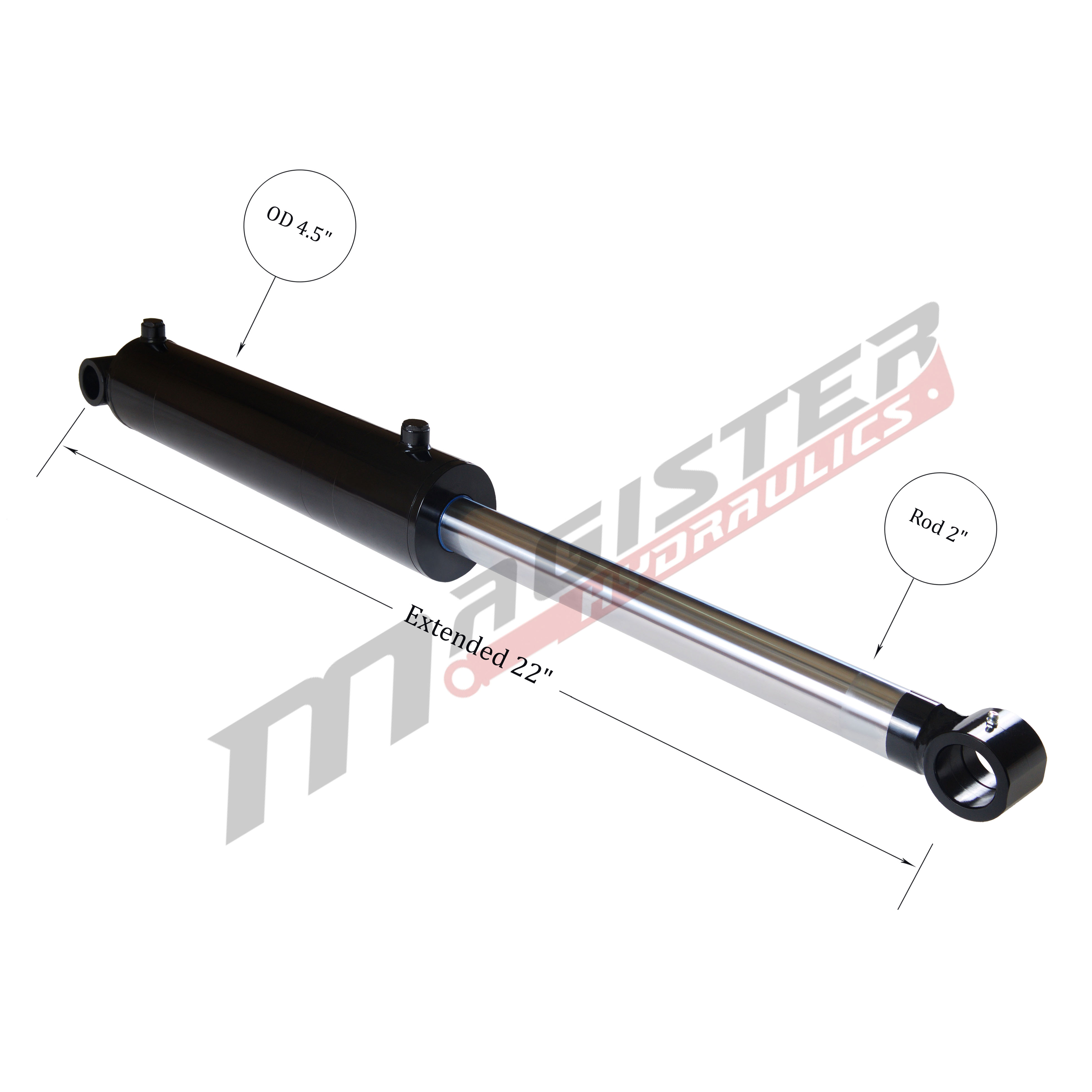 4 bore x 6 stroke hydraulic cylinder, welded cross tube double acting cylinder | Magister Hydraulics
