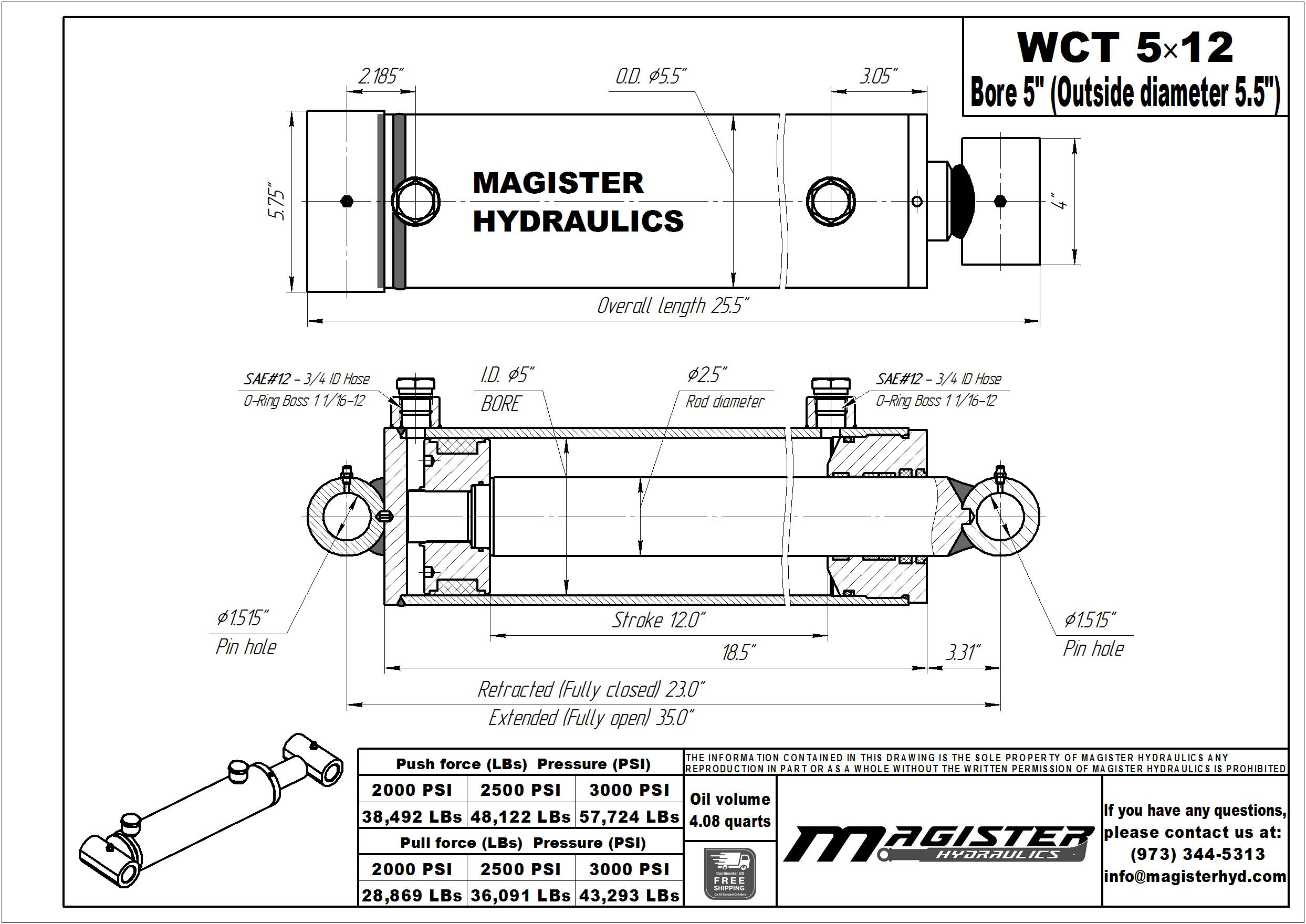 5 bore x 12 stroke hydraulic cylinder, welded cross tube double acting cylinder | Magister Hydraulics
