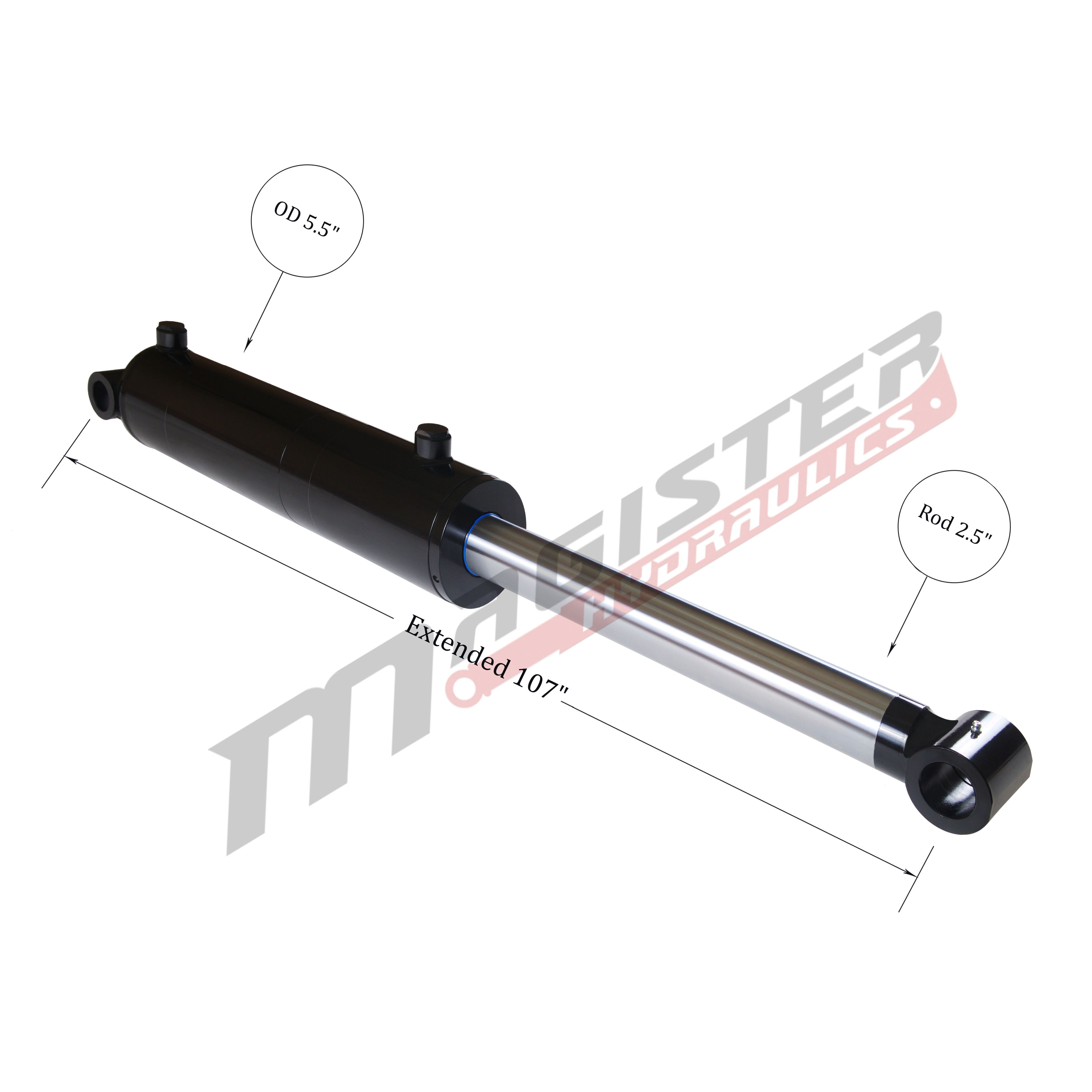 5 bore x 48 stroke hydraulic cylinder, welded cross tube double acting cylinder   Magister Hydraulics