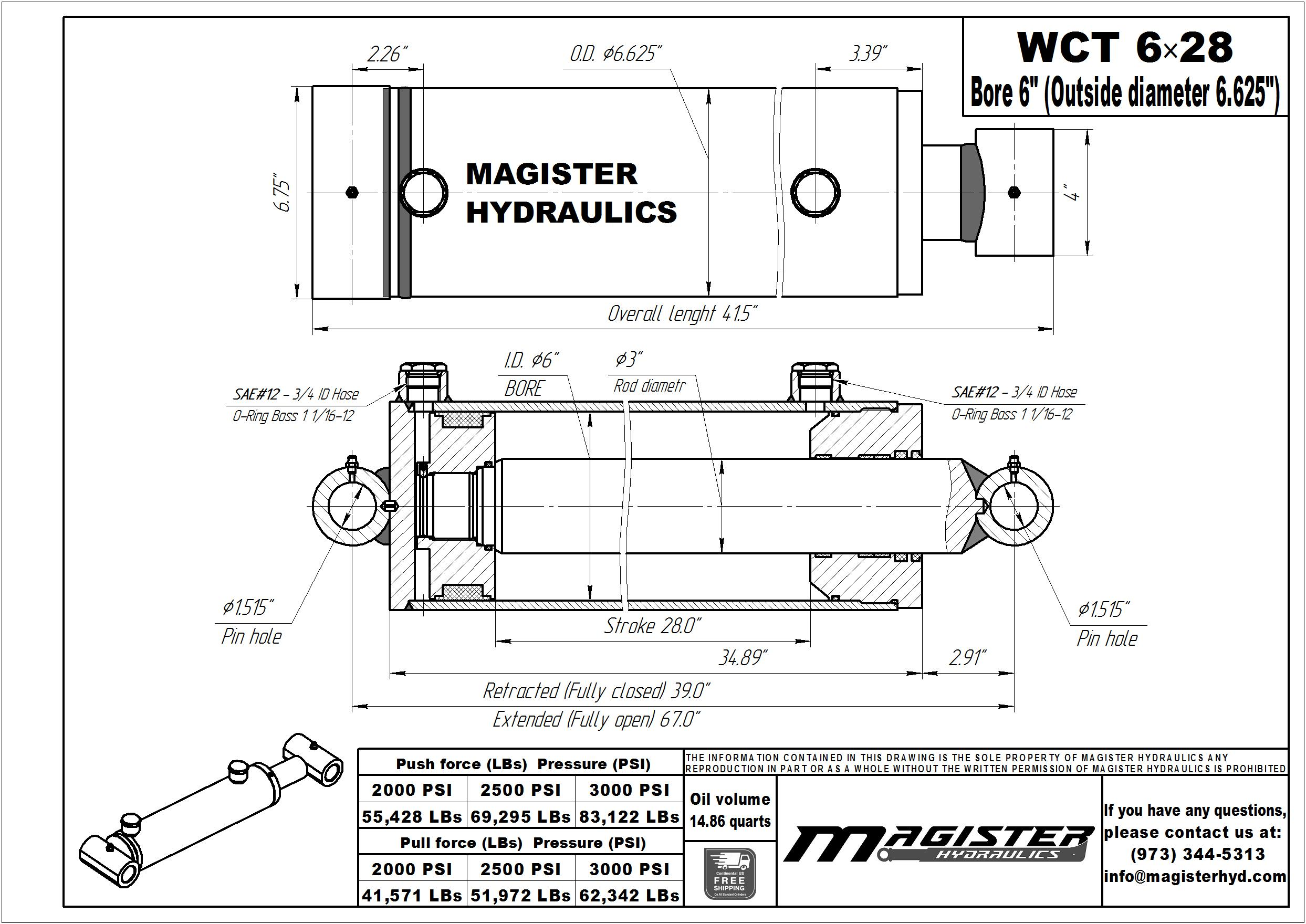 6 bore x 28 stroke hydraulic cylinder, welded cross tube double acting cylinder | Magister Hydraulics
