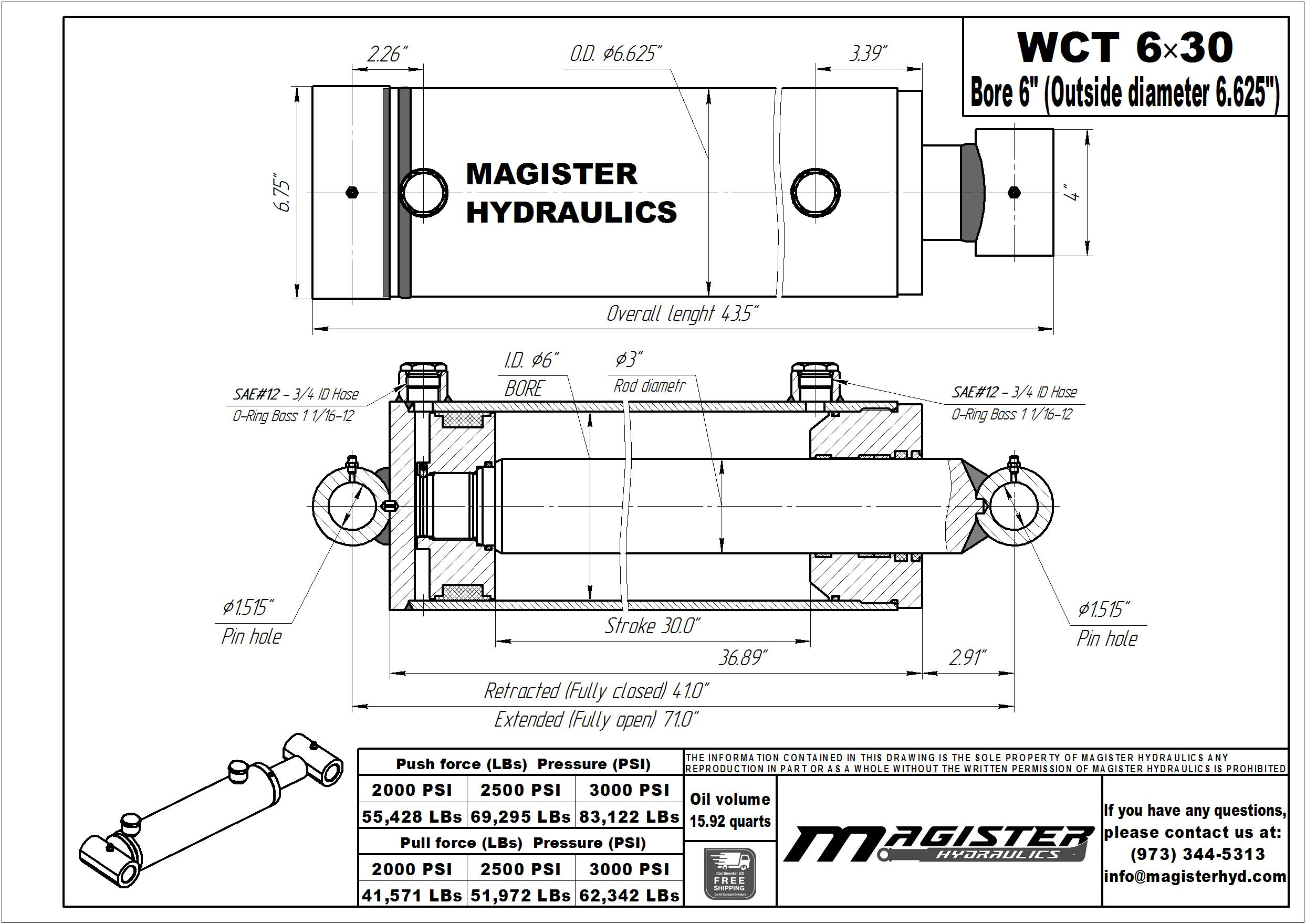 6 bore x 30 stroke hydraulic cylinder, welded cross tube double acting cylinder   Magister Hydraulics