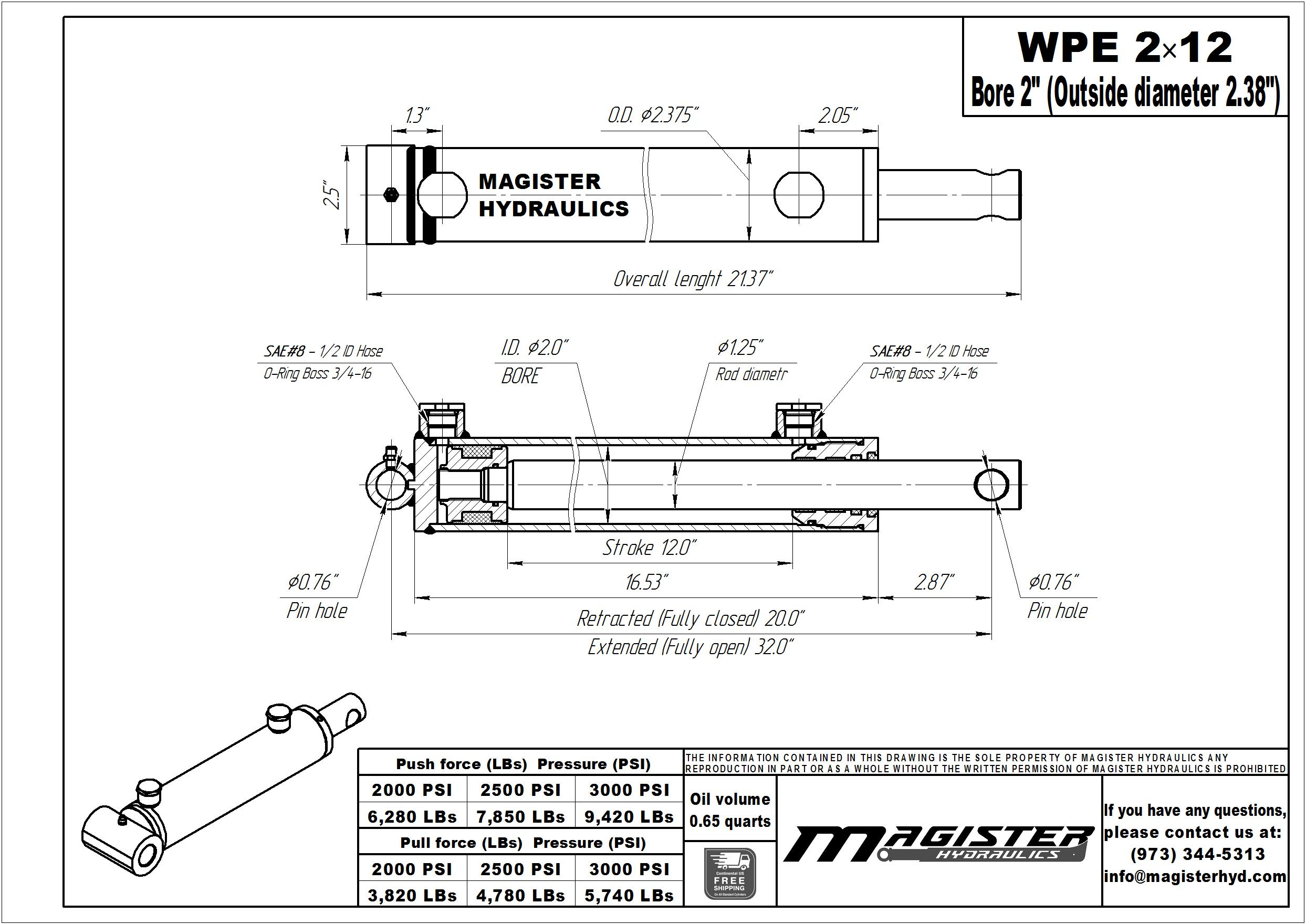 2 bore x 12 stroke hydraulic cylinder, welded pin eye double acting cylinder | Magister Hydraulics