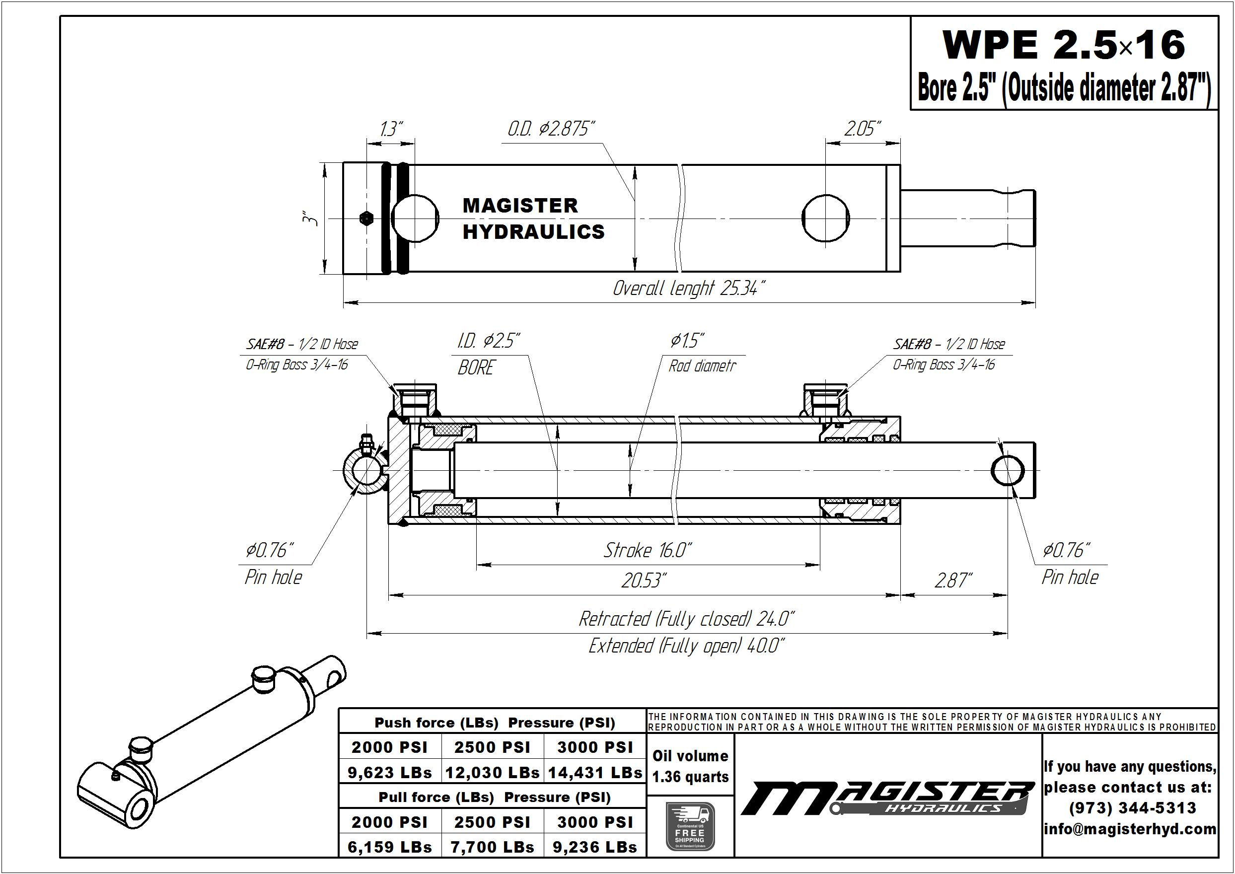 2.5 bore x 16 stroke hydraulic cylinder, welded pin eye double acting cylinder | Magister Hydraulics