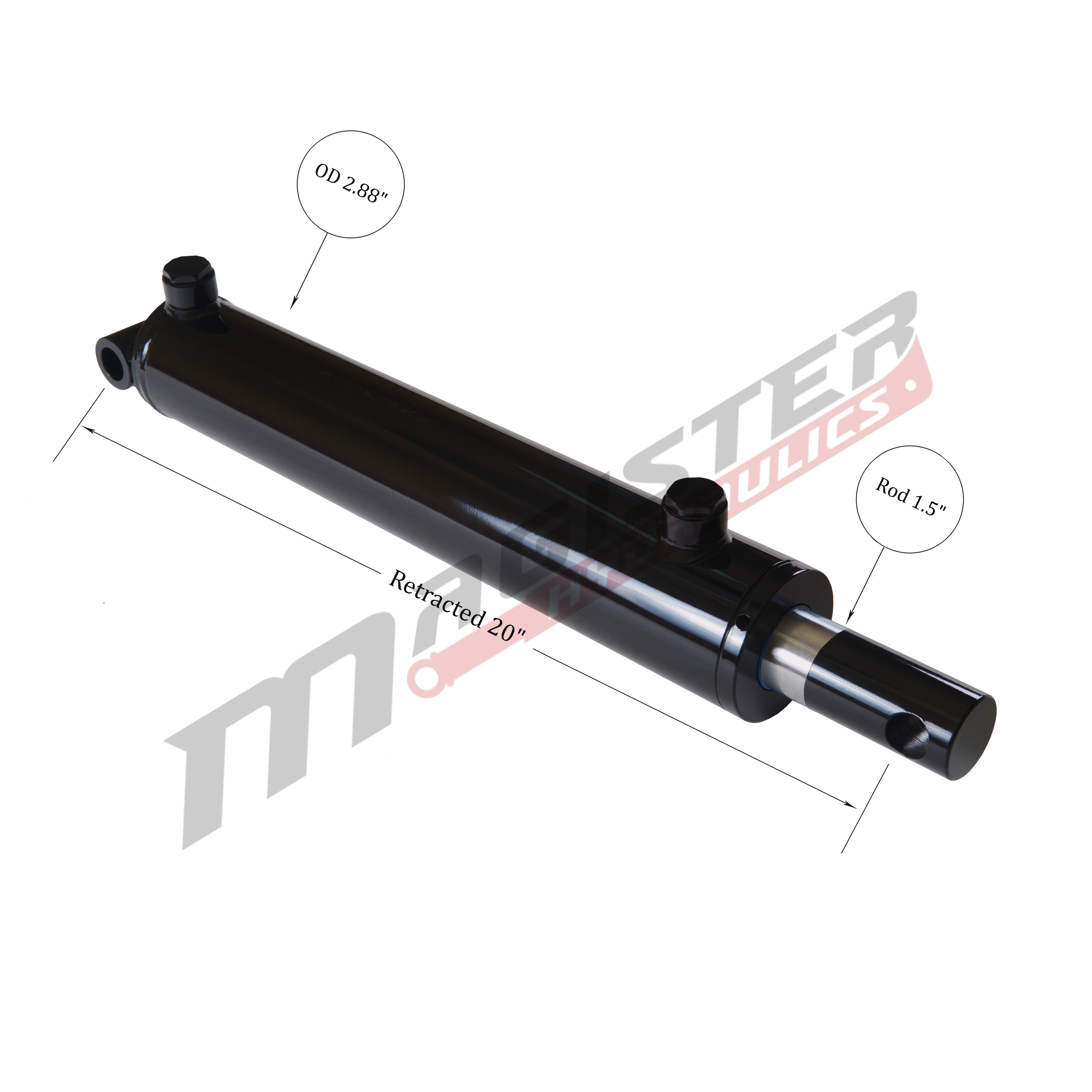 2.5 bore x 12 stroke hydraulic cylinder, welded pin eye double acting cylinder | Magister Hydraulics