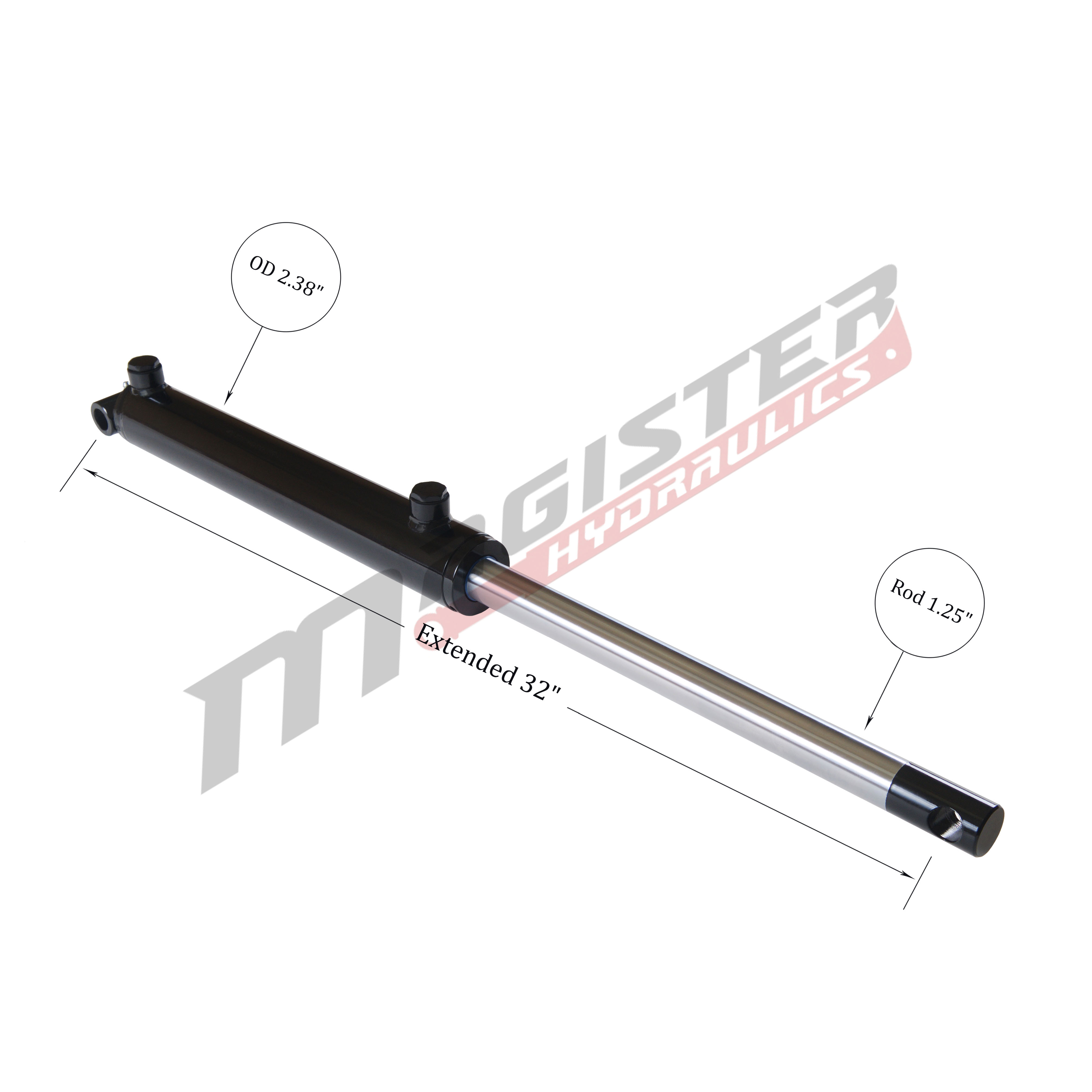 2 bore x 12 stroke hydraulic cylinder, welded pin eye double acting cylinder   Magister Hydraulics