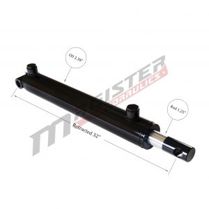 2 bore x 24 stroke hydraulic cylinder, welded pin eye double acting cylinder | Magister Hydraulics