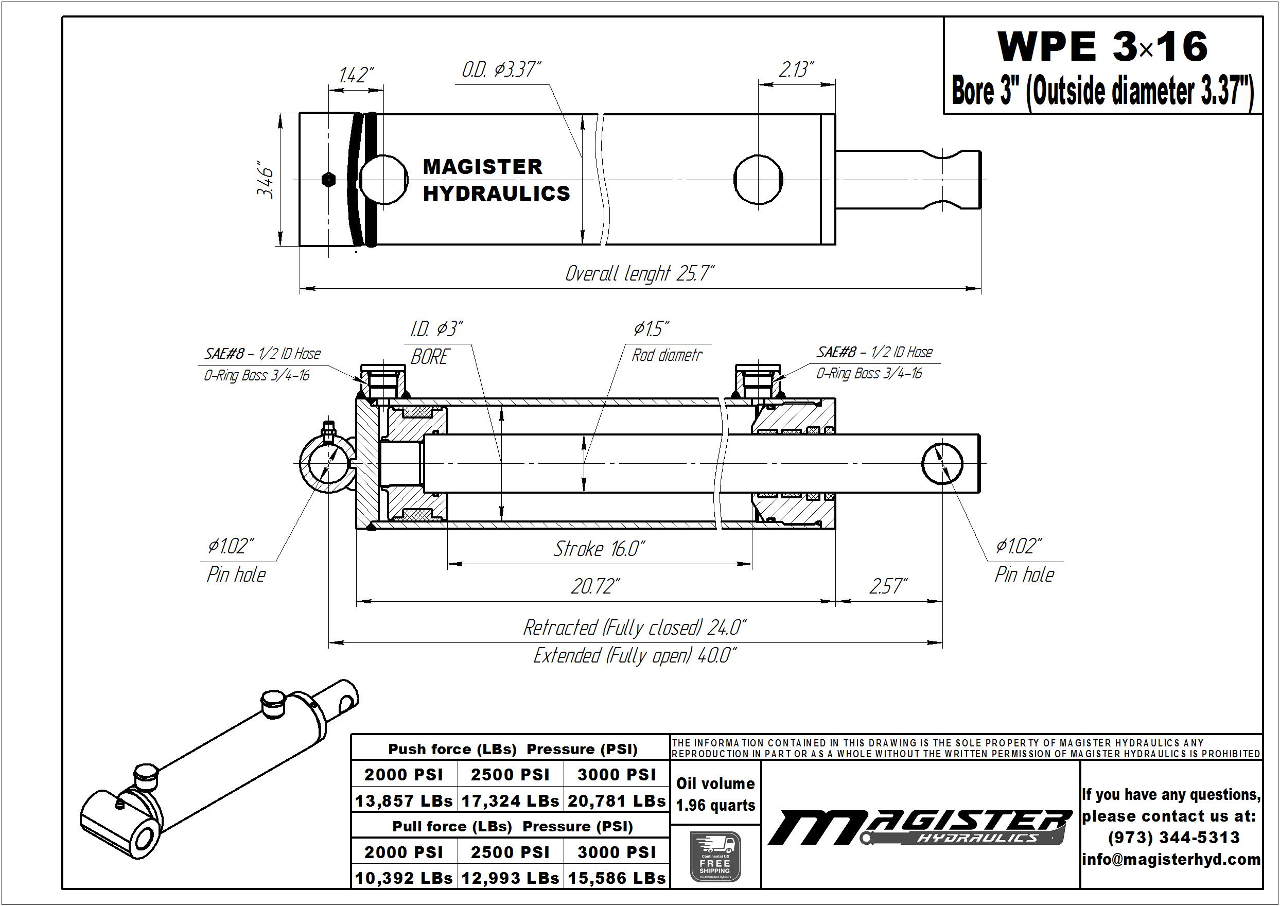 3 bore x 16 stroke hydraulic cylinder, welded pin eye double acting cylinder | Magister Hydraulics