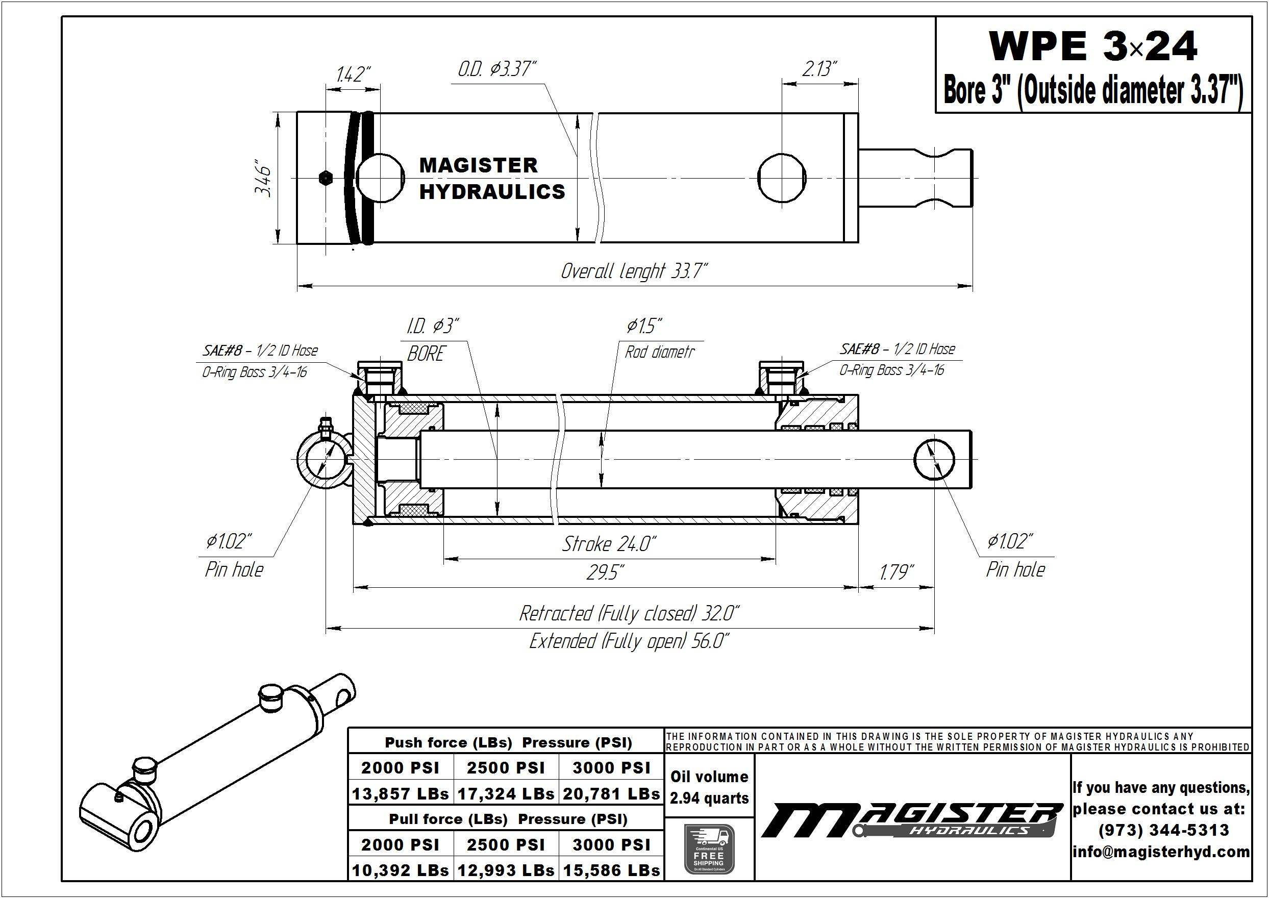 3 bore x 24 stroke hydraulic cylinder, welded pin eye double acting cylinder | Magister Hydraulics