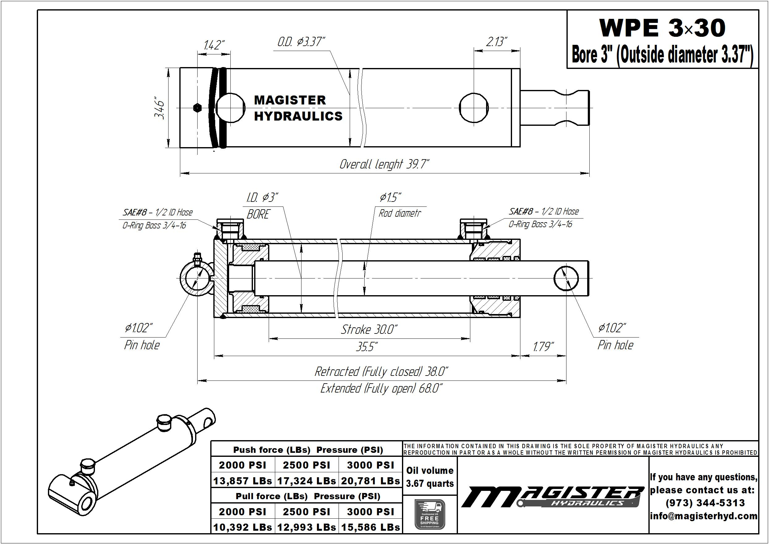 3 bore x 30 stroke hydraulic cylinder, welded pin eye double acting cylinder | Magister Hydraulics