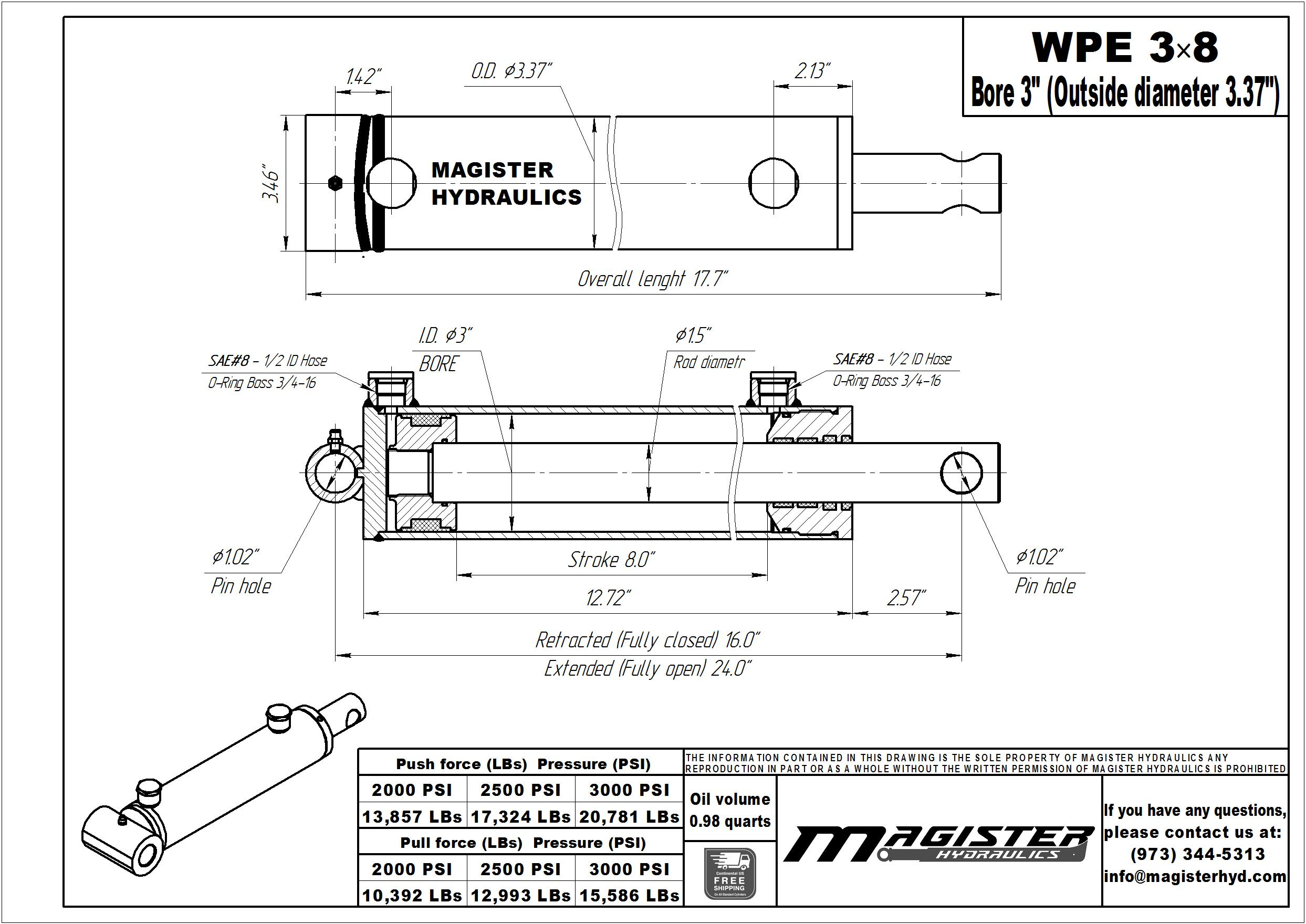 3 bore x 8 stroke hydraulic cylinder, welded pin eye double acting cylinder | Magister Hydraulics