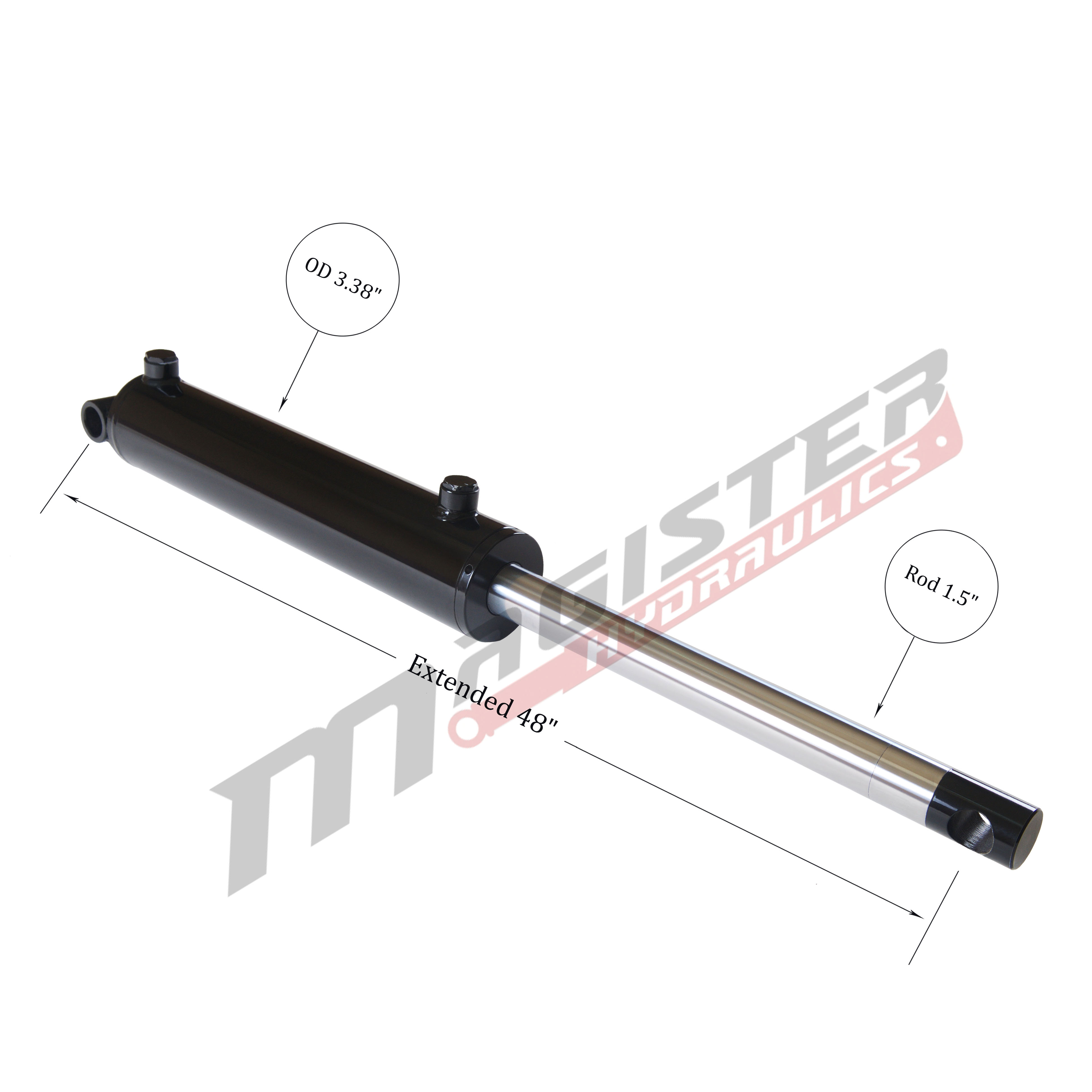 3 bore x 20 stroke hydraulic cylinder, welded pin eye double acting cylinder | Magister Hydraulics