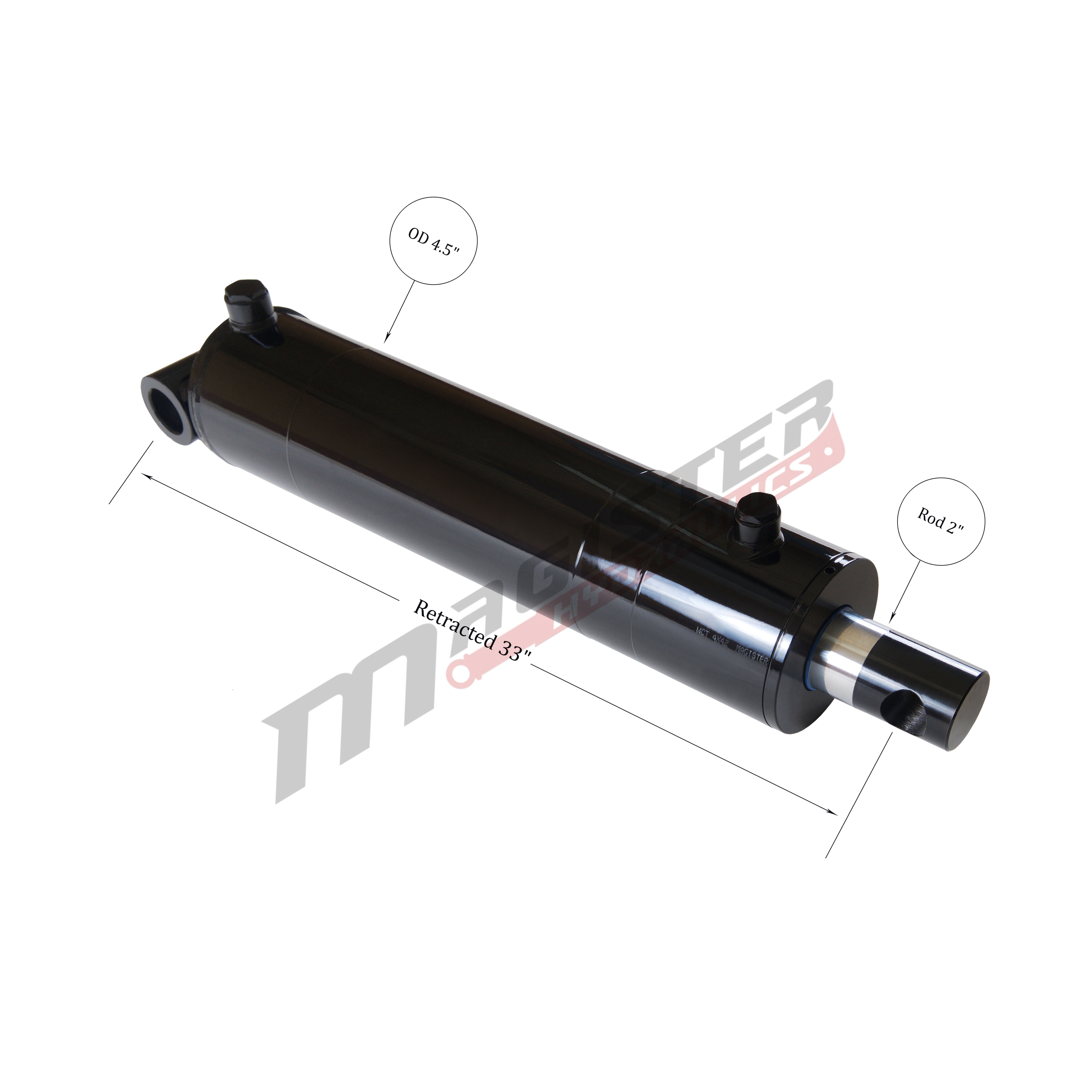 4 bore x 24 stroke hydraulic cylinder, welded pin eye double acting cylinder | Magister Hydraulics