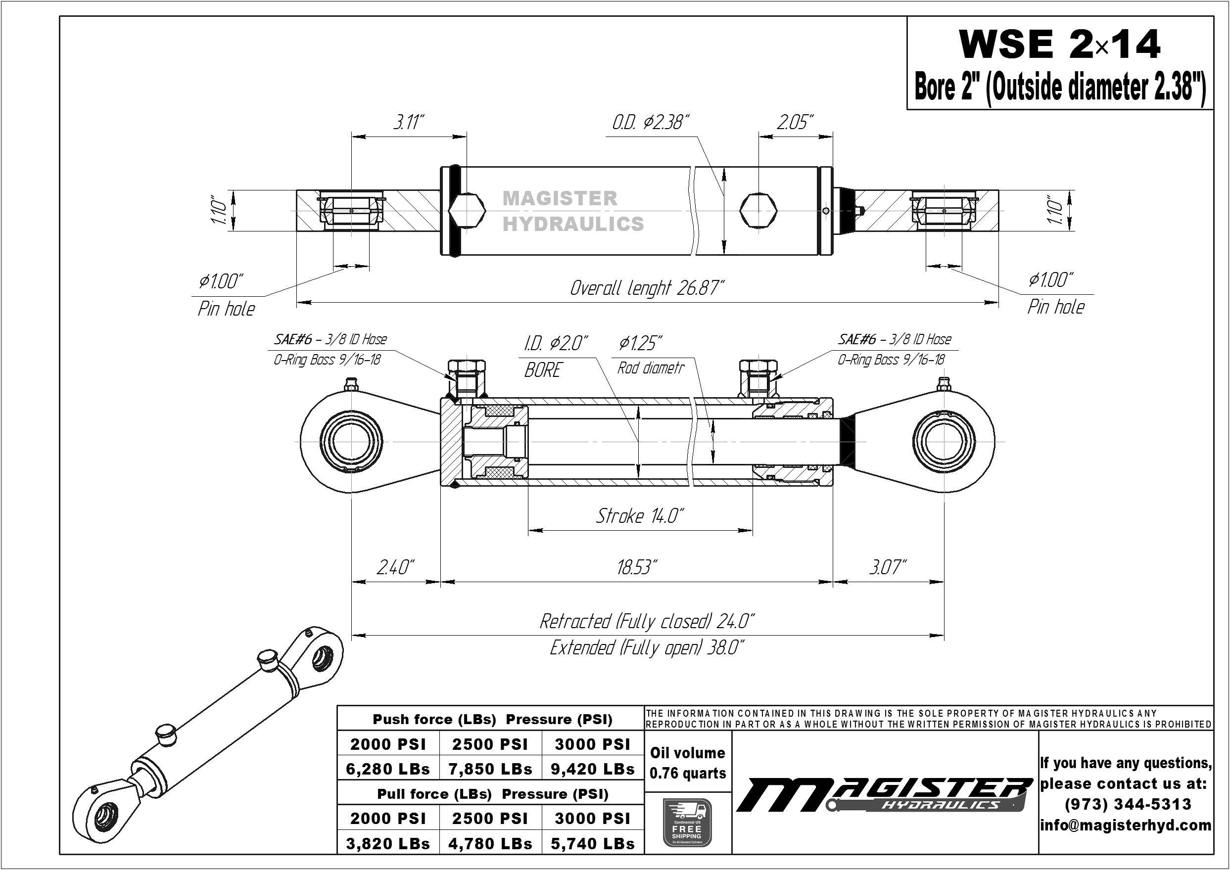 2 bore x 14 stroke hydraulic cylinder, welded swivel eye double acting cylinder | Magister Hydraulics