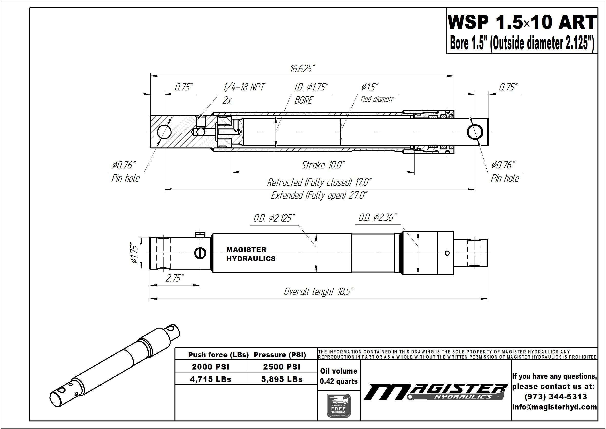 1.5 bore x 10 stroke hydraulic cylinder Arctic, welded snow plow single acting cylinder | Magister Hydraulics