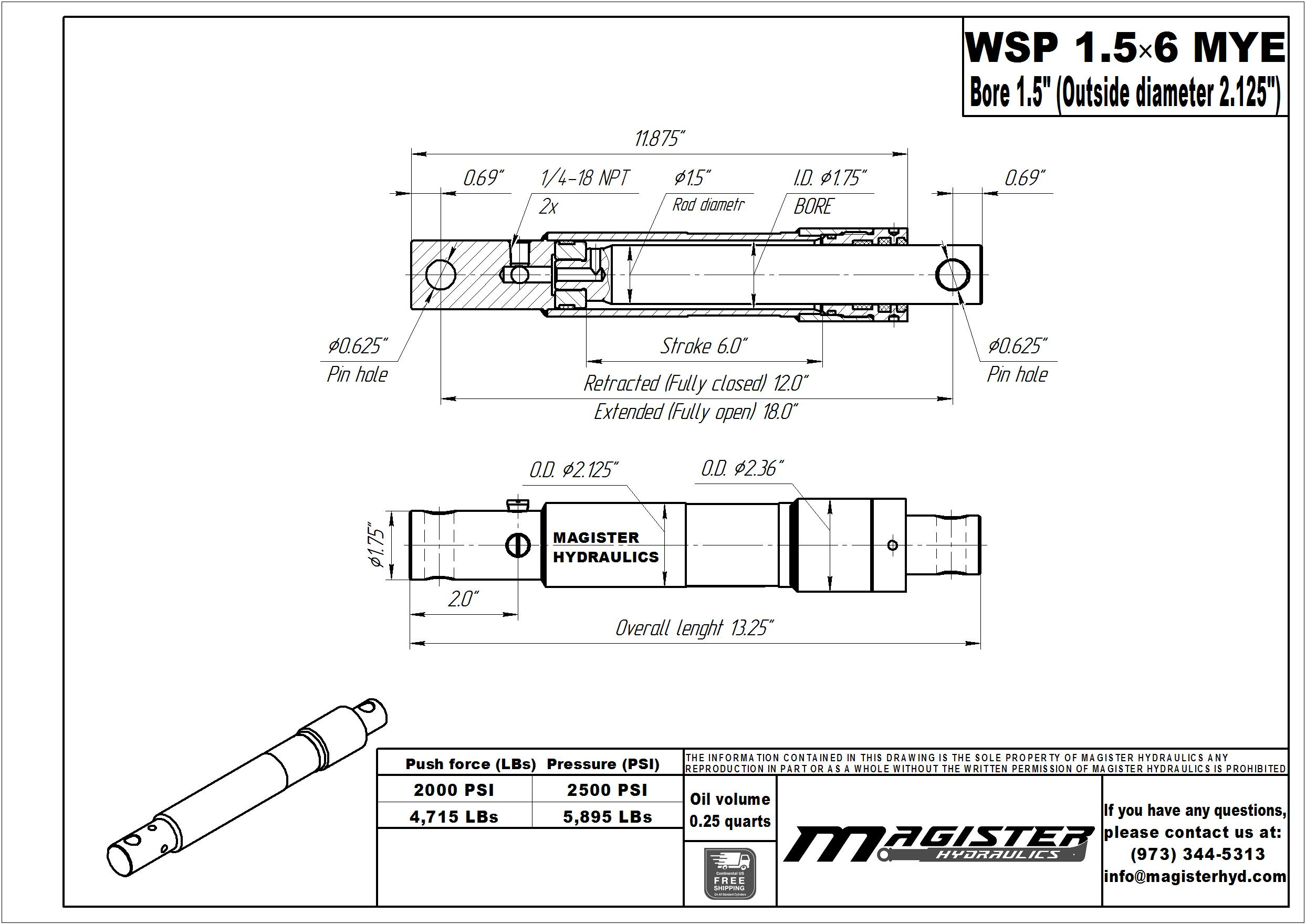 1.5 bore x 6 stroke hydraulic cylinder Meyers, welded snow plow single acting cylinder   Magister Hydraulics