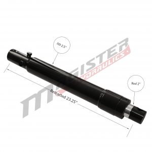 2 bore x 16 stroke hydraulic cylinder Fisher, welded snow plow single acting cylinder | Magister Hydraulics