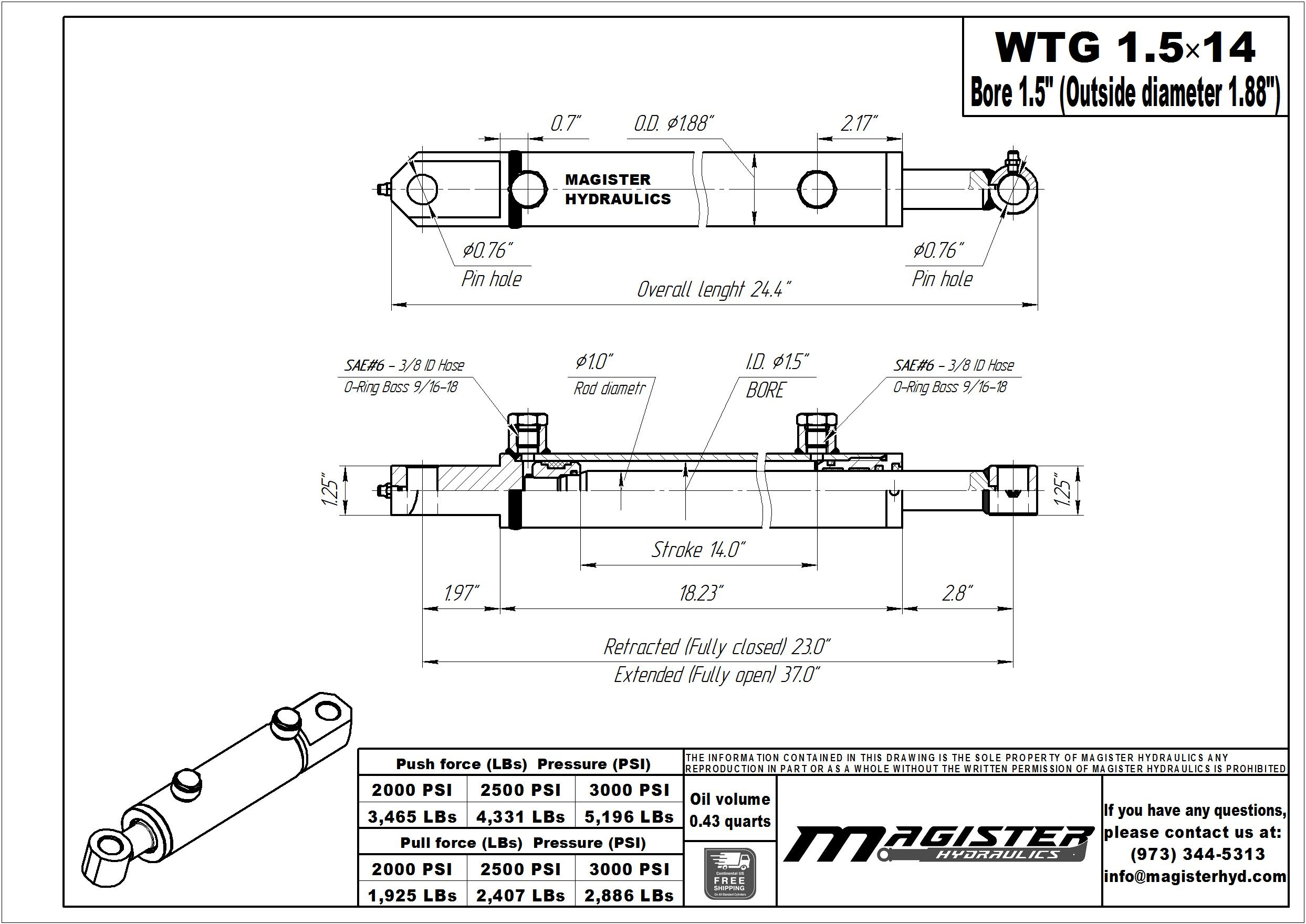 1.5 bore x 14 stroke hydraulic cylinder, welded tang double acting cylinder | Magister Hydraulics