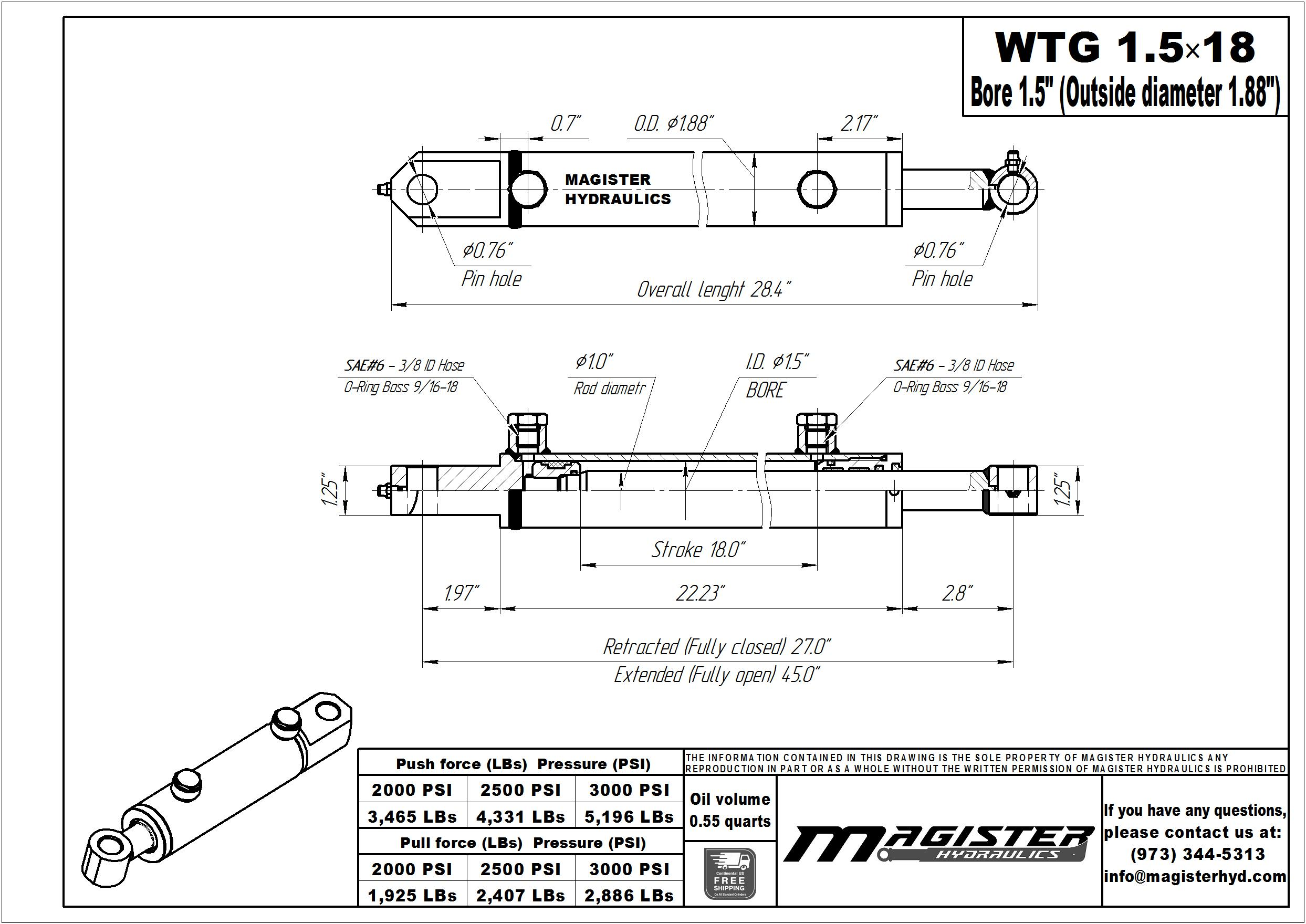 1.5 bore x 18 stroke hydraulic cylinder, welded tang double acting cylinder | Magister Hydraulics