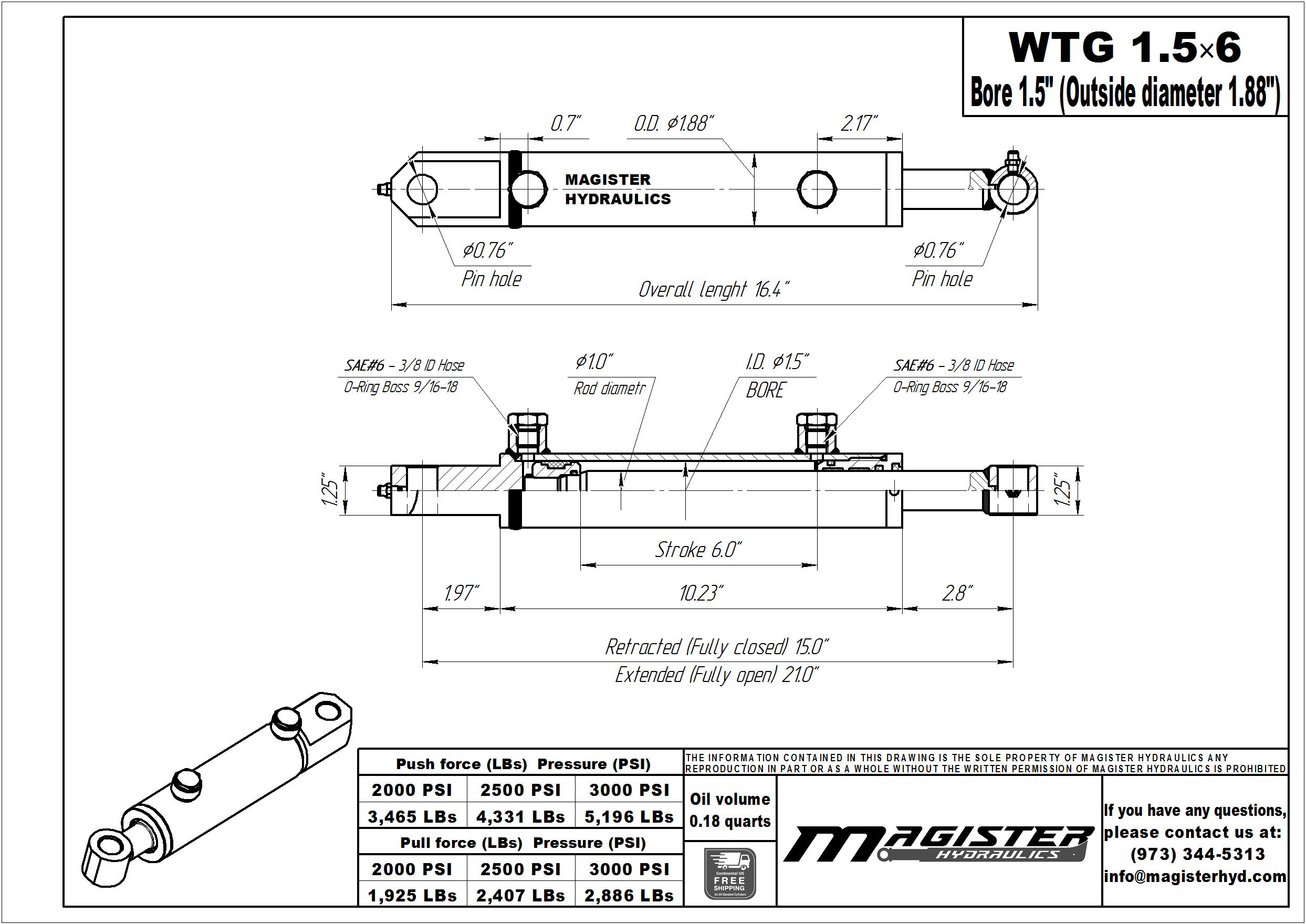 1.5 bore x 6 stroke hydraulic cylinder, welded tang double acting cylinder | Magister Hydraulics
