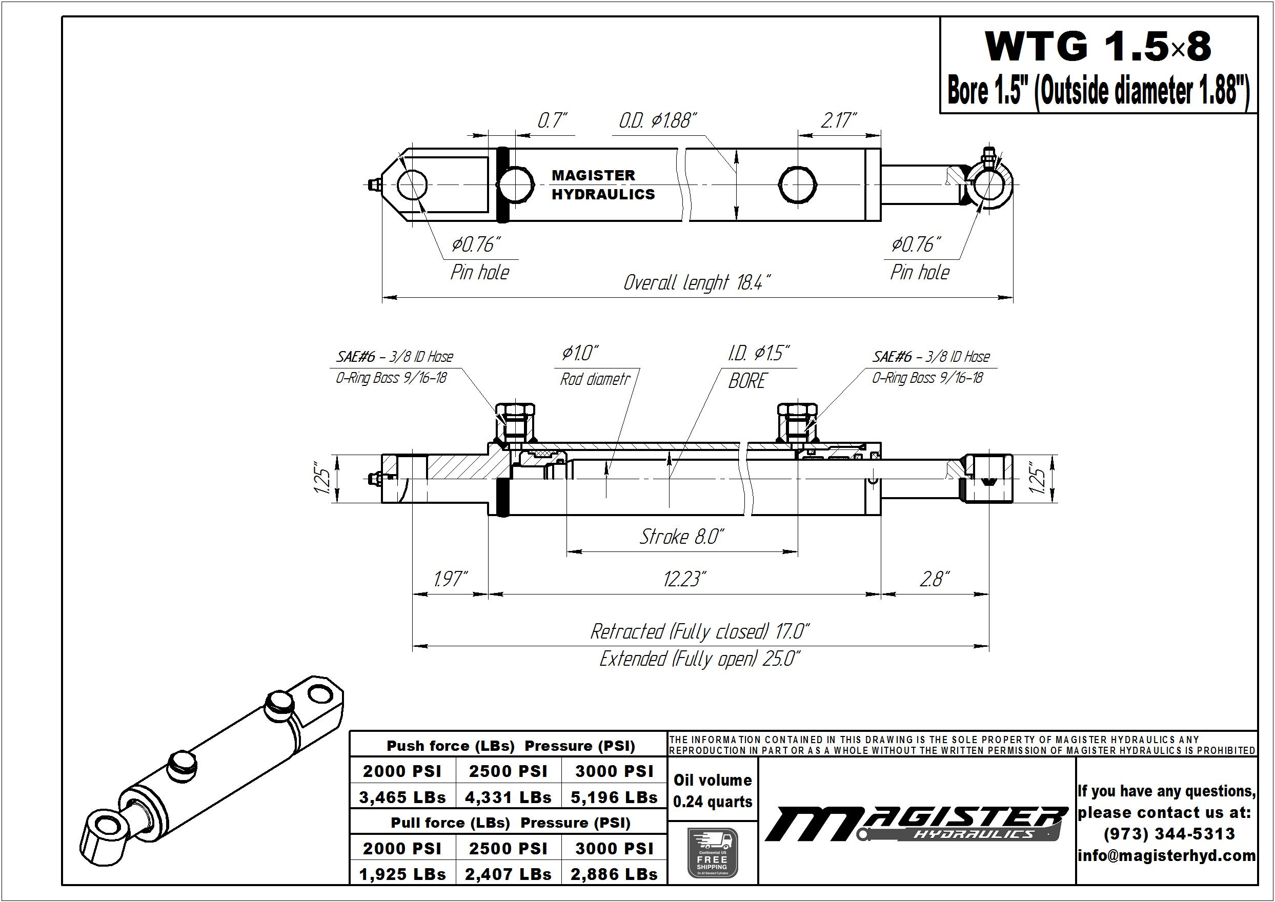 1.5 bore x 8 stroke hydraulic cylinder, welded tang double acting cylinder | Magister Hydraulics