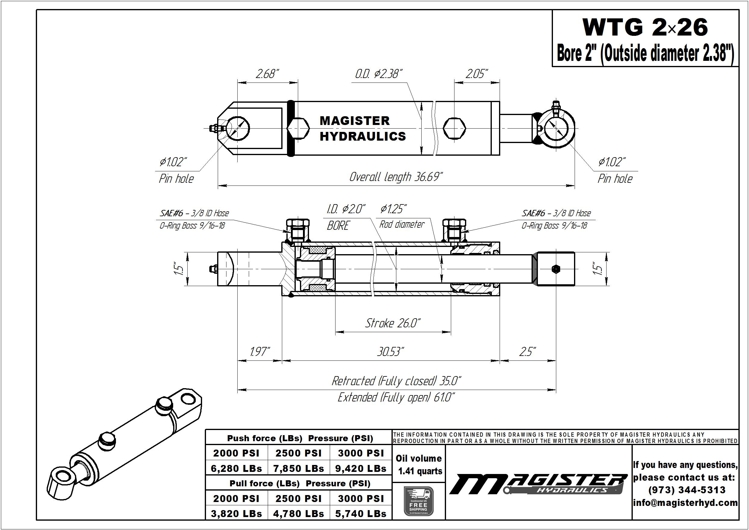 2 bore x 26 stroke hydraulic cylinder, welded tang double acting cylinder   Magister Hydraulics