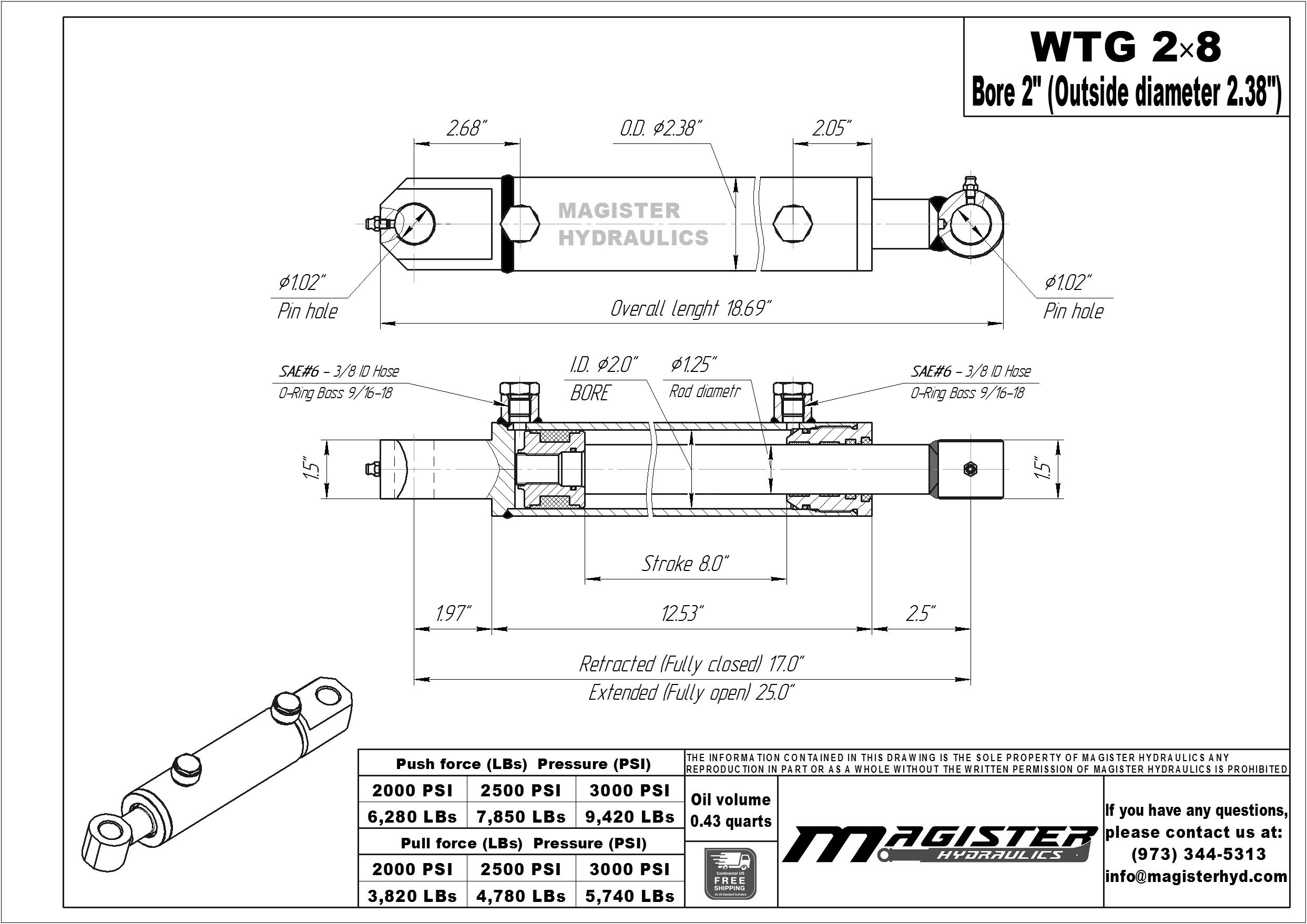 2 bore x 8 stroke hydraulic cylinder, welded tang double acting cylinder   Magister Hydraulics