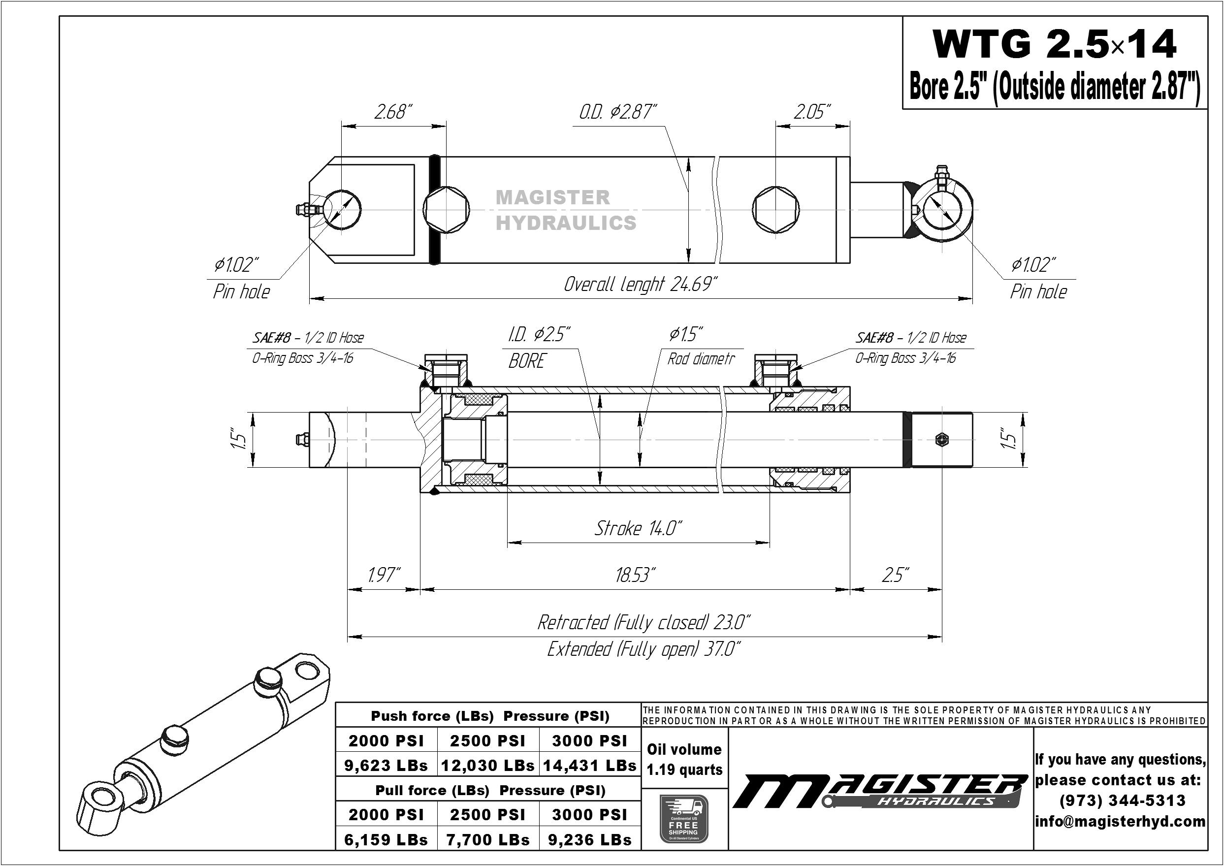 2.5 bore x 14 stroke hydraulic cylinder, welded tang double acting cylinder | Magister Hydraulics