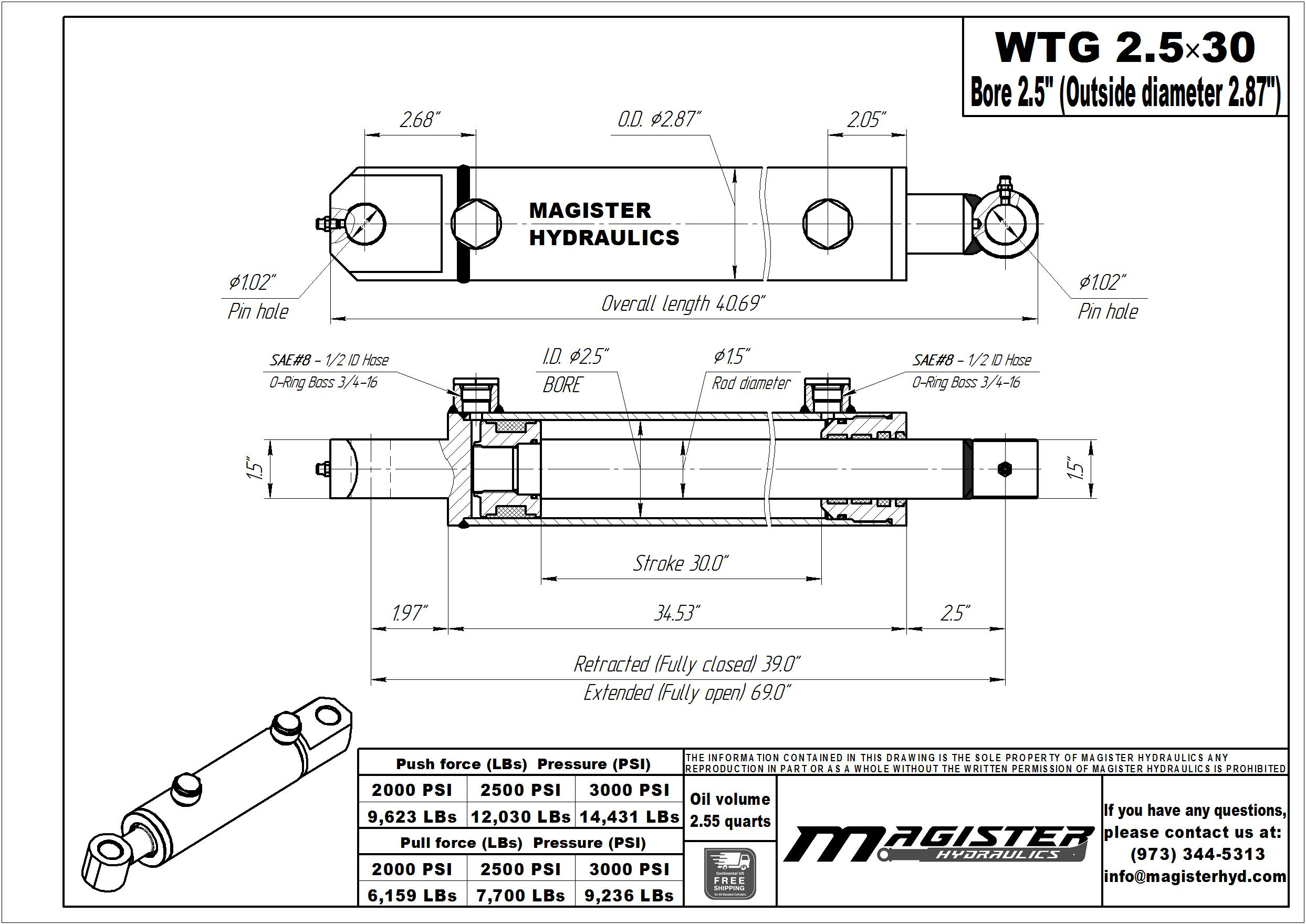 2.5 bore x 30 stroke hydraulic cylinder, welded tang double acting cylinder | Magister Hydraulics