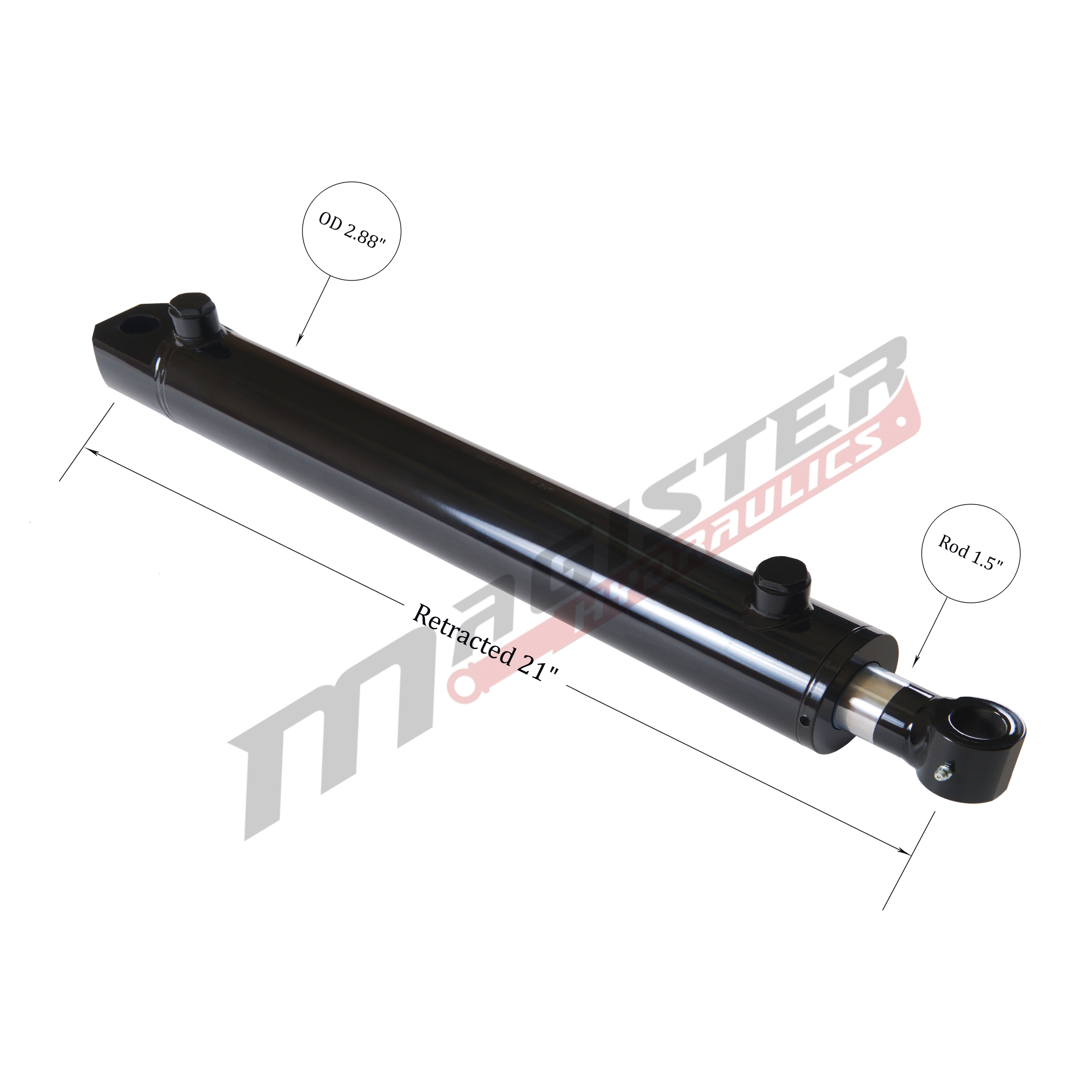 2.5 bore x 12 stroke hydraulic cylinder, welded tang double acting cylinder   Magister Hydraulics