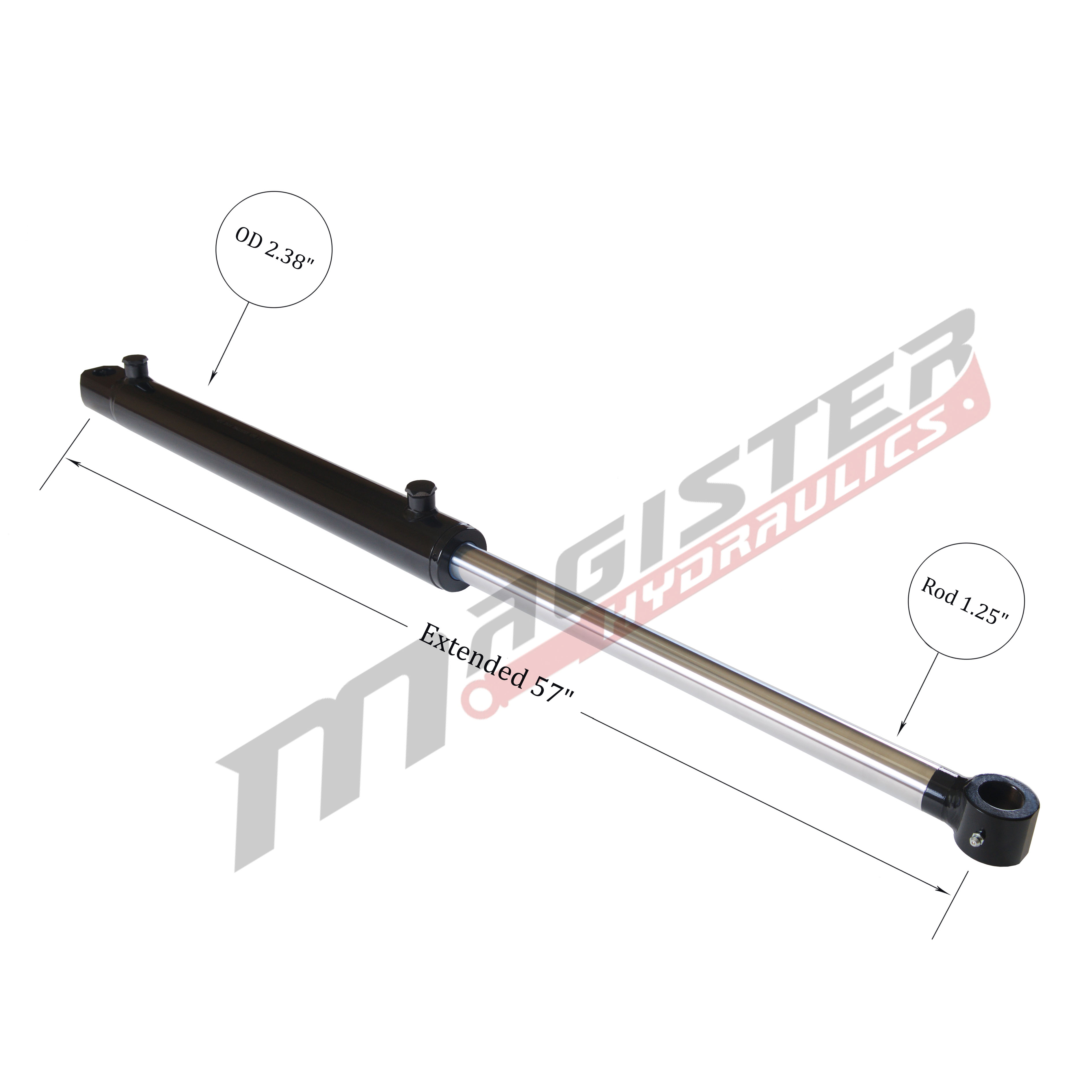 2 bore x 24 stroke hydraulic cylinder, welded tang double acting cylinder | Magister Hydraulics