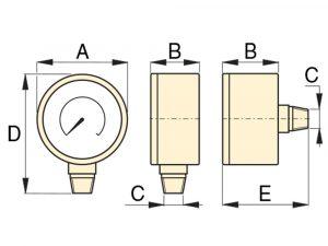 "Enerpac G2535L   Hydraulic Pressure Gauge, 2.50"" Display, 700 BAR, Lower Mount   Magister"