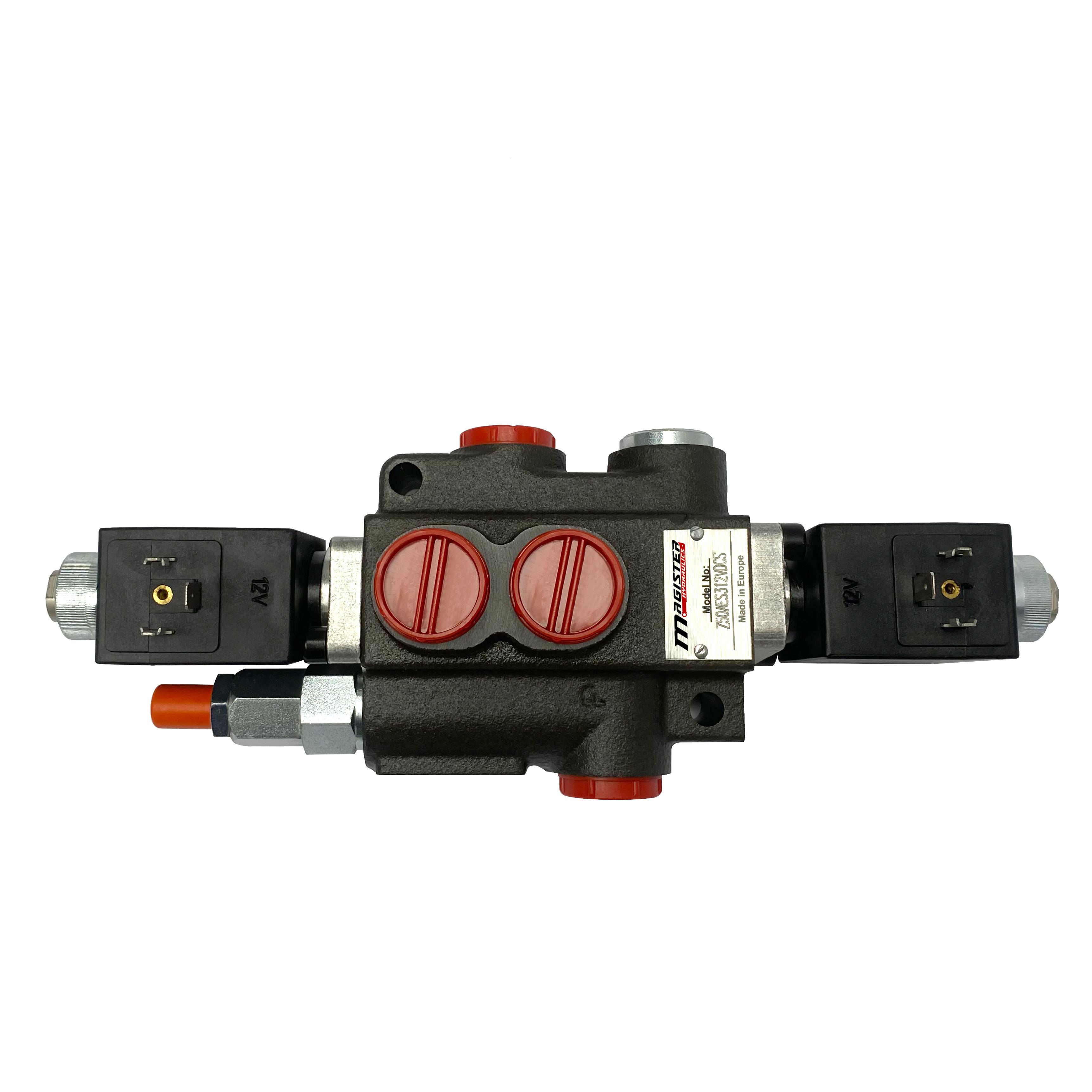 1 spool x 13 GPM solenoid hydraulic control valve, monoblock cast iron valve   Magister Hydraulics