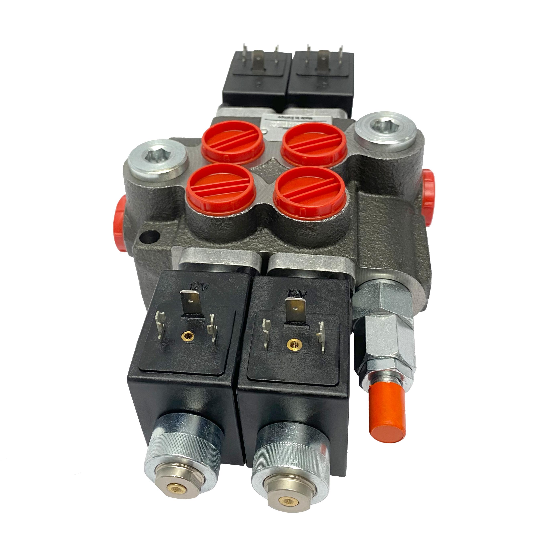 2 spool x 13 GPM solenoid hydraulic control valve, monoblock cast iron valve   Magister Hydraulics