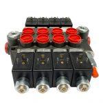 4 spool x 13 GPM solenoid hydraulic control valve, monoblock cast iron valve   Magister Hydraulics