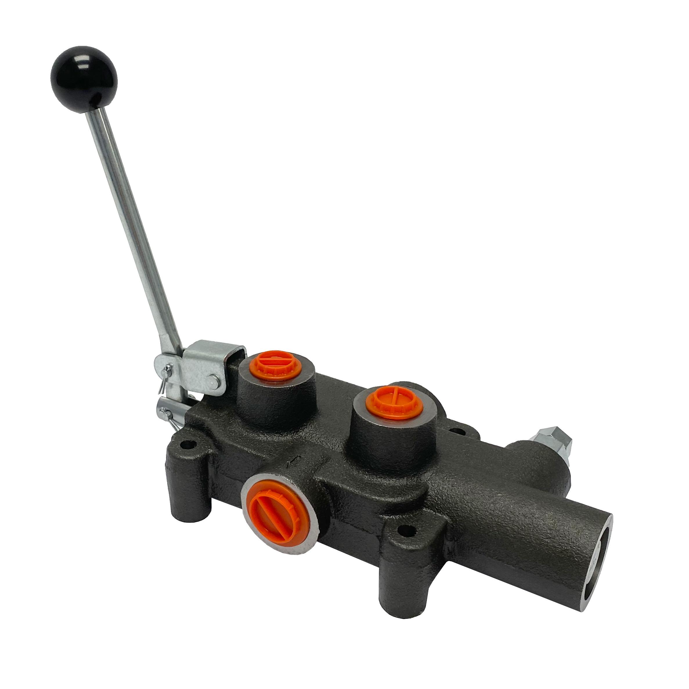 1 spool x 21 GPM hydraulic log splitter high speed control valve, monoblock cast iron valve   Magister Hydraulics