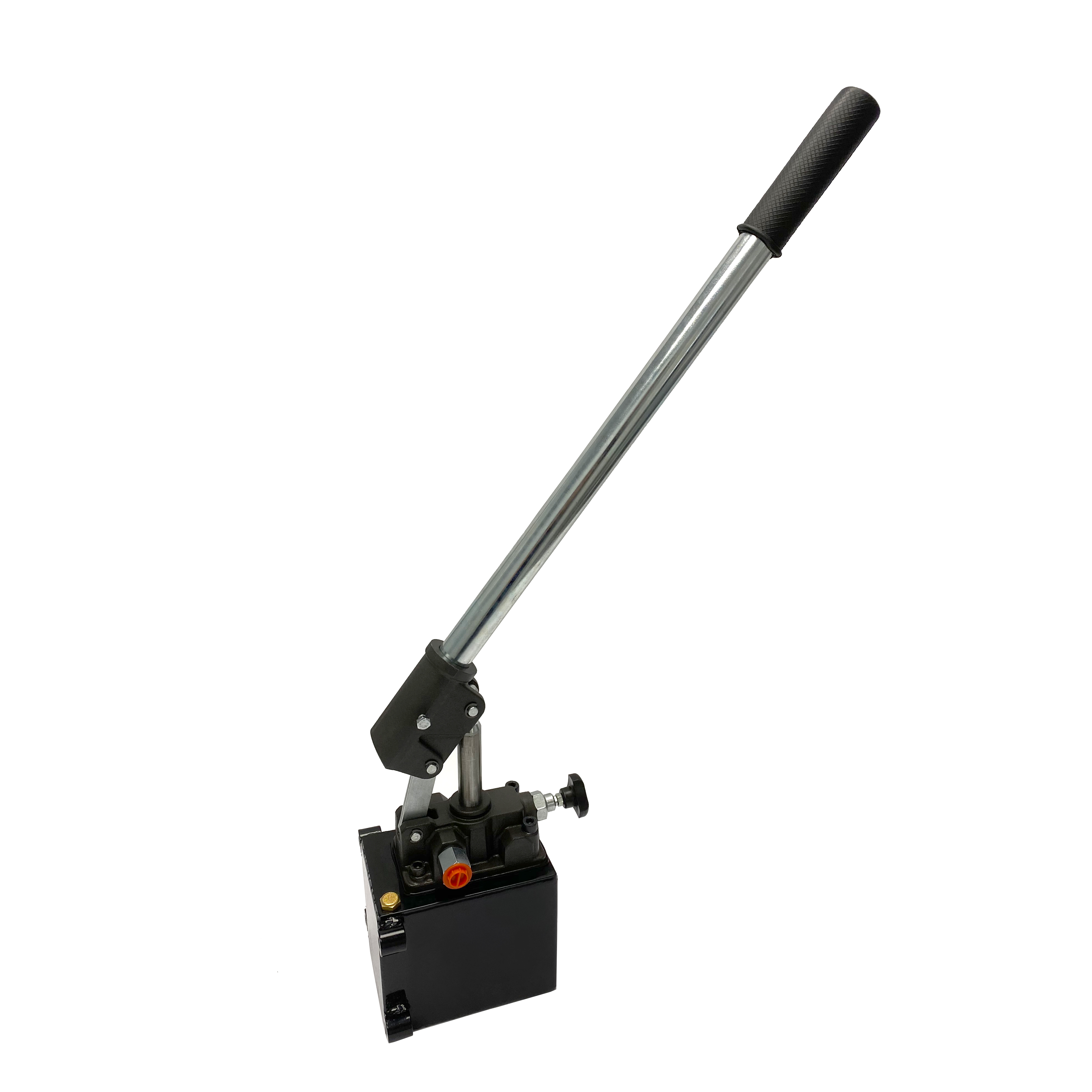 Hydraulic piston hand pump with release knob for single acting cylinder 2.7 CID with 1 quart steel tank by Hydro-Pack   Magister Hydraulics