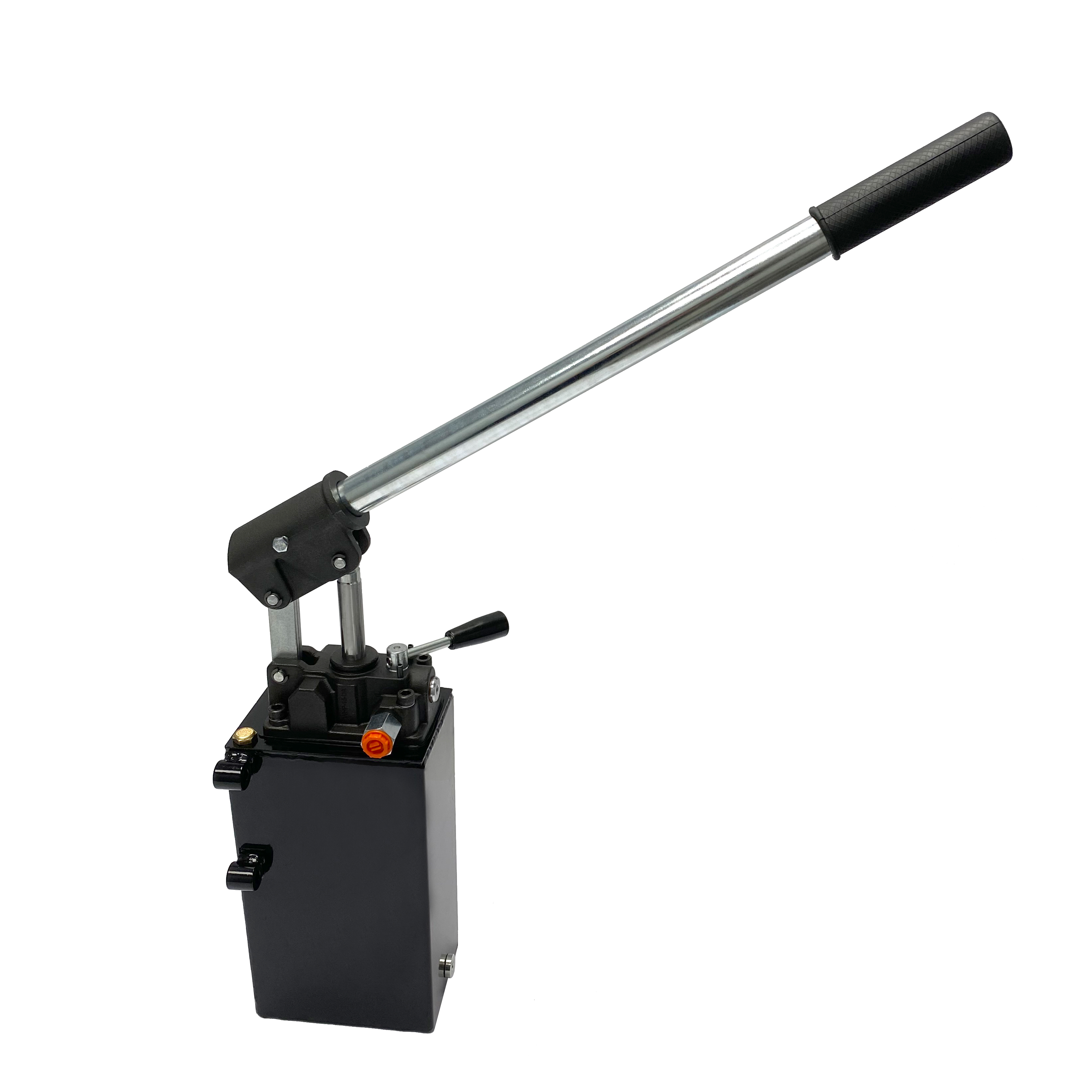 Hydraulic piston hand pump with double acting changeover valve for double acting cylinder 2.7 CID with 3 quart steel tank by Hydro-Pack   Magister Hydraulics
