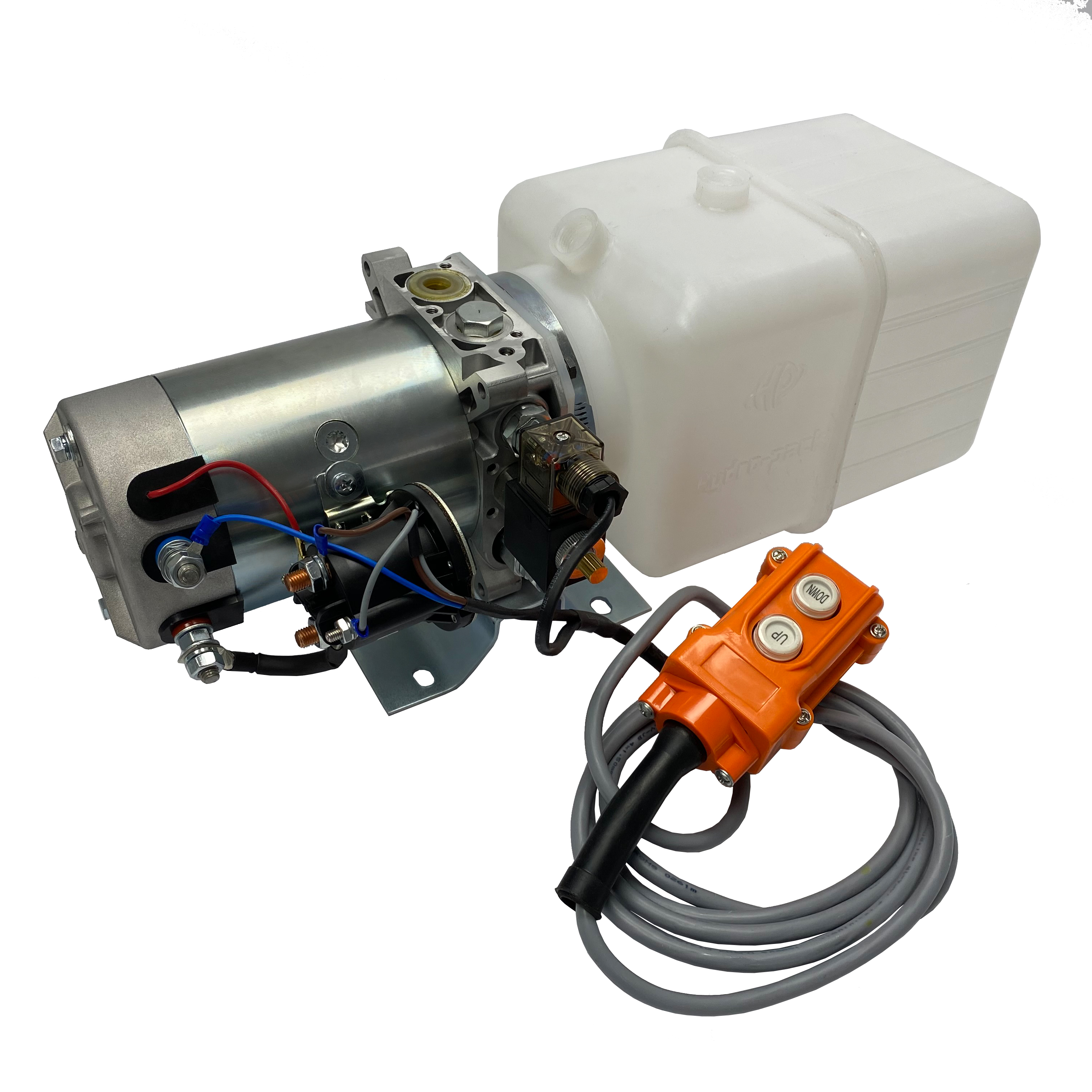 single acting 8 quarts plastic reservoir hydraulic power unit 12V DC by Hydro-Pack | Magister Hydraulics