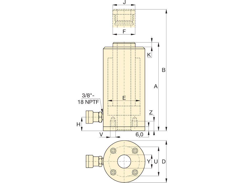 "Enerpac RAR1006   Hollow Plunger Hydraulic Cylinder, Single Acting, Aluminum, 100-Ton, 5.91"" Stroke   Magister"