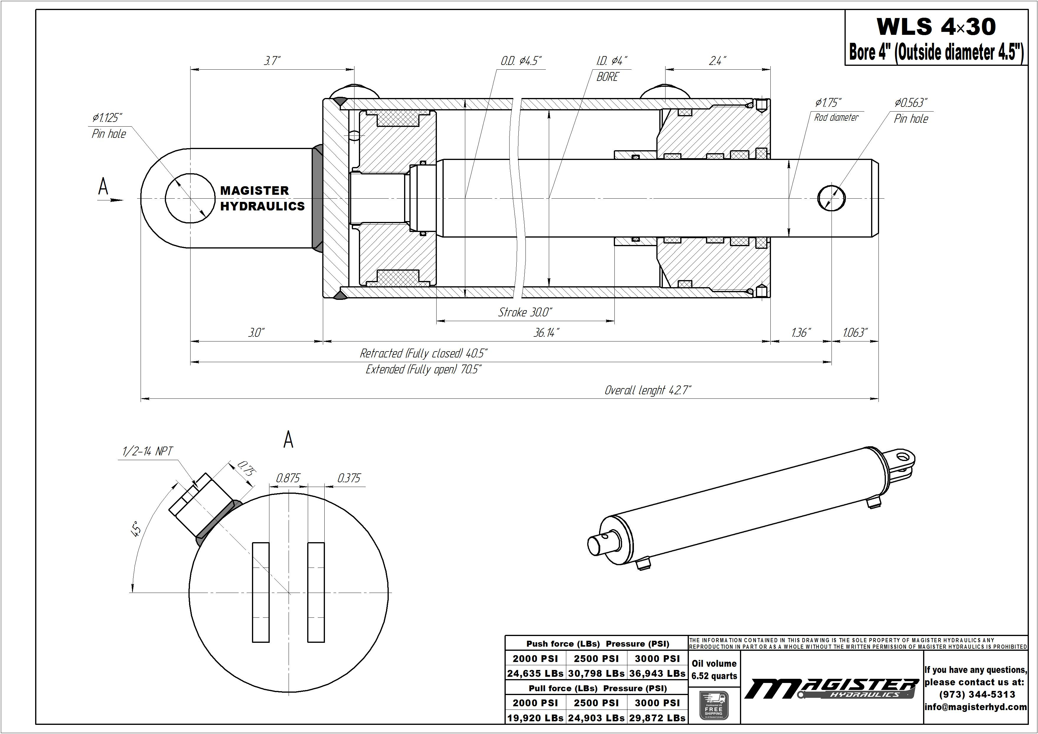 4 bore x 30 stroke hydraulic cylinder, log splitter double acting cylinder   Magister Hydraulics