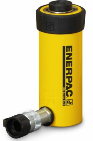 """Enerpac RC-156 Single Acting 15 Ton Cylinder in Alloy Steel Single Acting 15 Ton Weight Capacity 10,000 PSI Alloy Steel Composition for Strength and Durability Coupler and Dust Cap (CR-400) Included One Year Manufacturer's Warranty View: Enerpac RC Cylinders Brochure Product Specifications: Stroke: 6.00"""" Cylinder Effective Area: 3.14"""" Oil Capacity: 18.85"""" Collapsed Height: 10.69"""" Extended Height: 16.69"""" Outside Diameter: 2.75"""" Cylinder Bore Diameter: 2.00"""" Plunger Diameter: 1.63"""" Saddle Diameter: 1.50"""" Saddle Protrusion From Plunger: .38"""" Plunger Internal Thread: 1""""-8 Plunger Thread Length: 1.00"""" Bolt Circle Diameter: 1.88"""" Thread Size: 3/8""""-16 Thread Depth: .50"""" Collar Thread: 2 3/4""""-16 Collar Thread Length: 1.19"""" Weight: 15 lbs."""