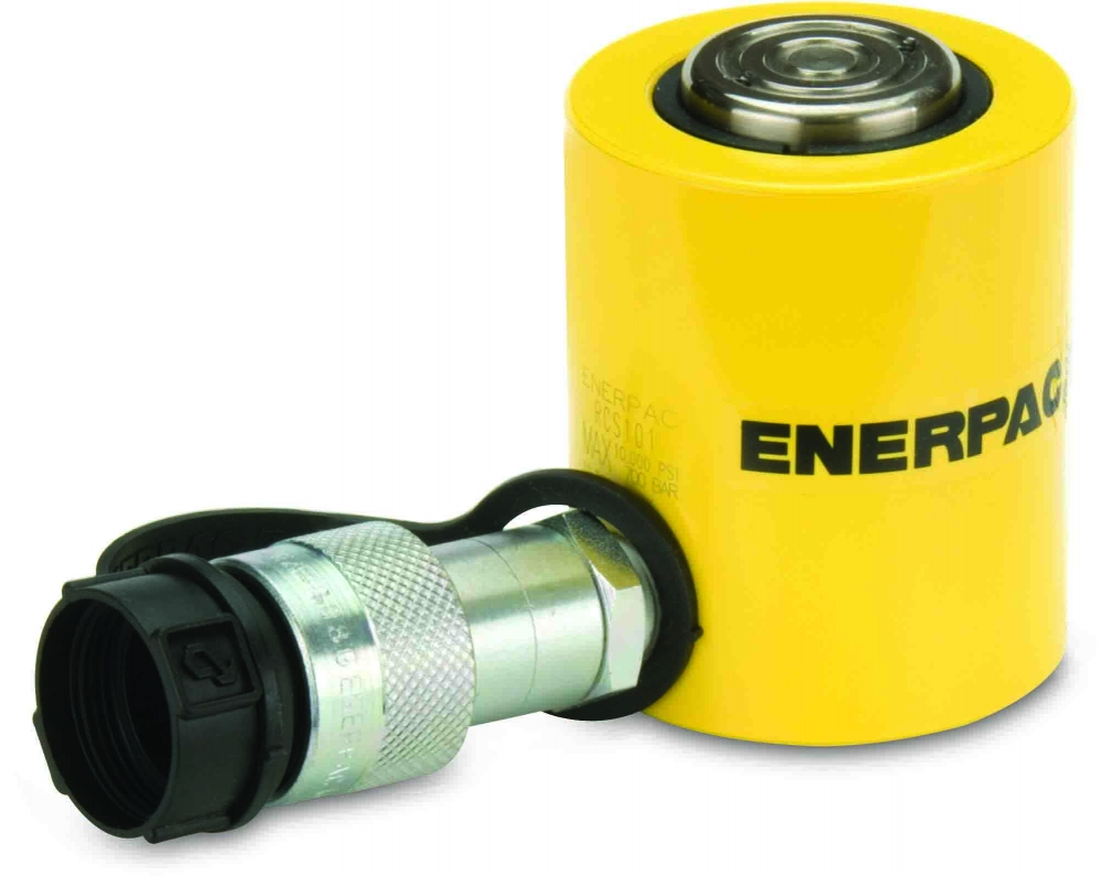 """Enerpac RCS101   Hydraulic Cylinder, Single Acting, Low Profile,CR-400 Coupler and Dust Dap Included, 10-Ton, 1.50"""" Stroke   Magister"""