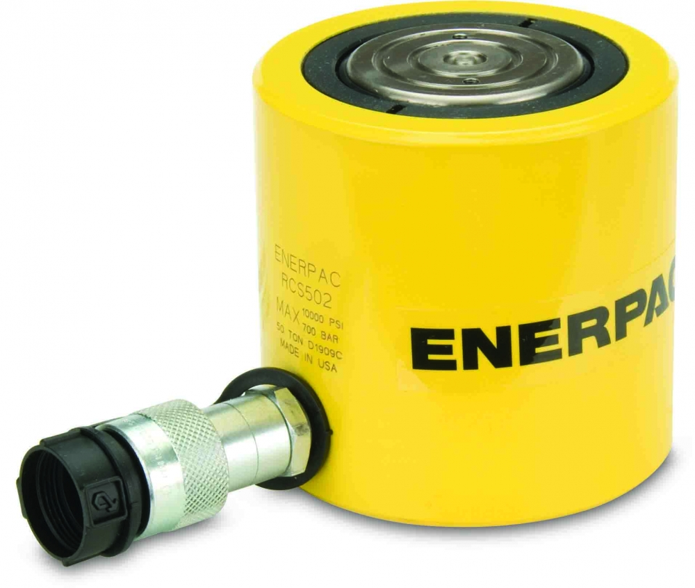 """Enerpac RCS502   Hydraulic Cylinder, Single Acting, Low Profile,CR-400 Coupler and Dust Dap Included, 50-Ton, 2.38"""" Stroke   Magister"""