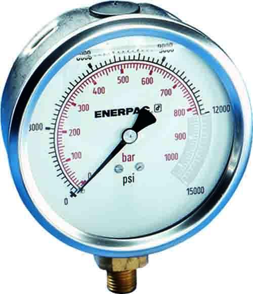 "Enerpac G4088L   Hydraulic Pressure Gauge, 4.00"" Display, 700 BAR, Lower Mount   Magister"