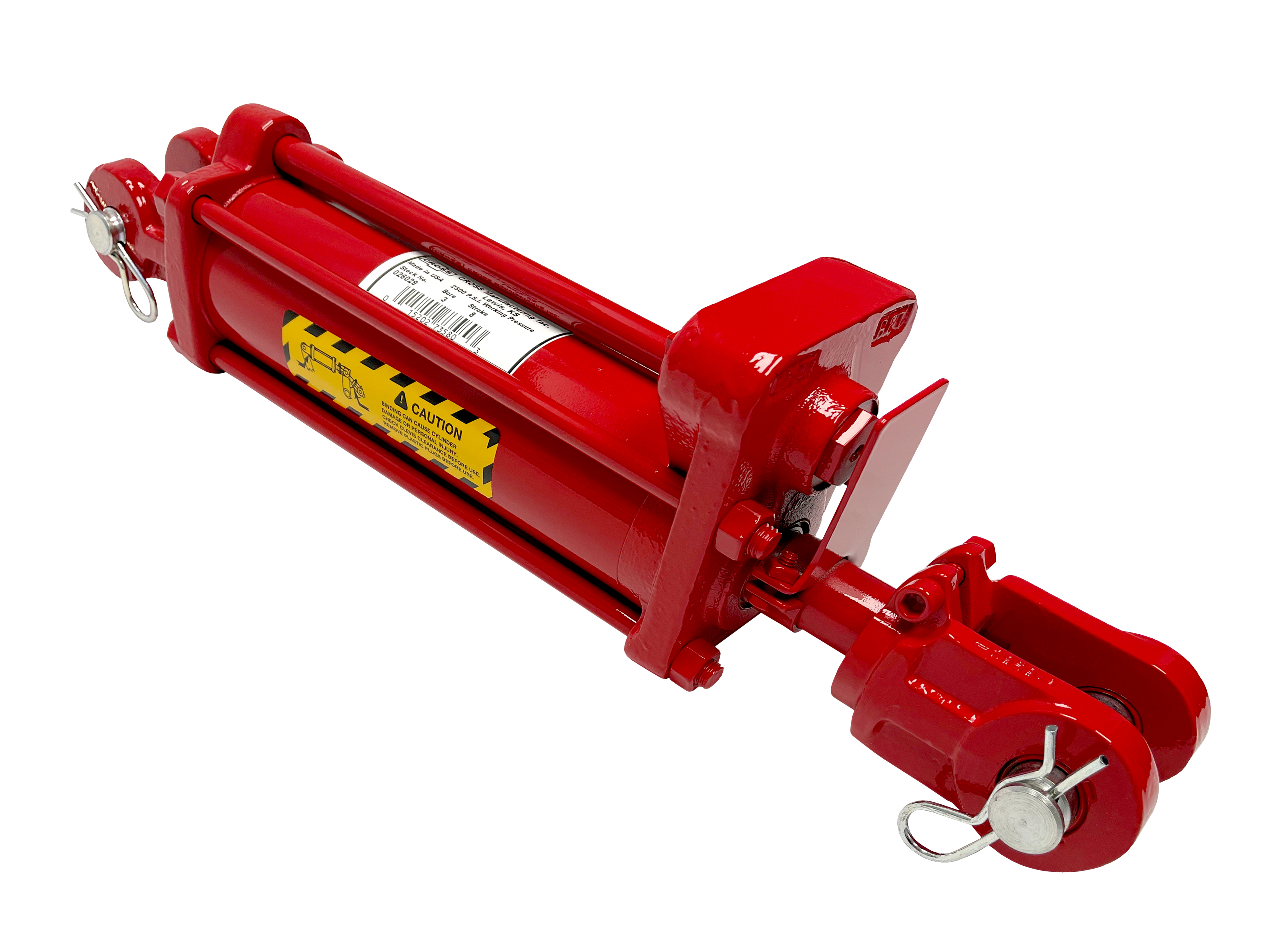 3.5 bore x 8 stroke CROSS hydraulic cylinder with depth control, tie rod double acting cylinder DC series | CROSS MANUFACTURING