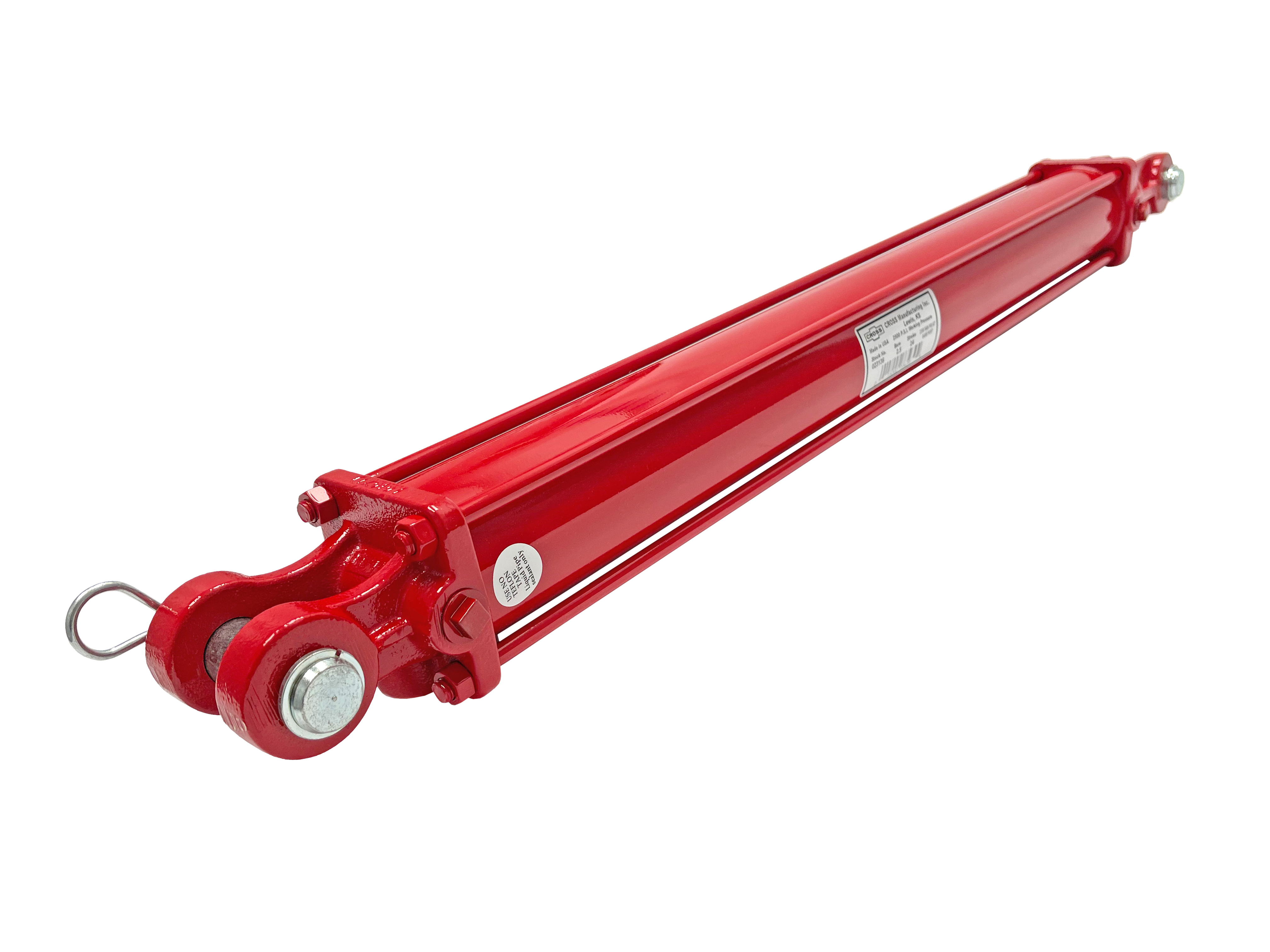 """2.5"""" bore x 30"""" stroke the CROSS series DB tie rod hydraulic cylinder 2500 PSI made in the United States. Heavy-duty hydraulic equipment, 1-year warranty, free ground Continental US shipping. CROSS Manufacturing cylinders manufactured with high quality raw materials and american labor. Precision finished ST52.3 steel cylinder barrels and polished induction hardened C1045 stell alloy rods, quality seals provide a long life for CROSS hydraulic cylinders. Ductile iron screw on clevis and double ported base for easy connection. High tensile strength tie rods with rolled threads for durability. Piston produced by gray iron or aluminum alloy with 70 durometer Buna N piston o-rings with polyurethane back-ups, double lipped u-cup rod seals. NPTF ports in line with pins. Excellent replacement for farming equipment and others. Made in the USA."""