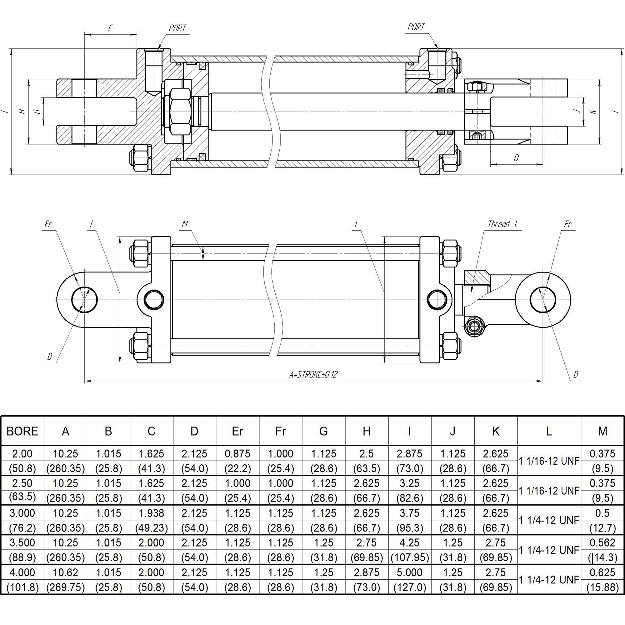 3.5 bore x 18 stroke CROSS hydraulic cylinder, tie rod DH Series cylinder   CROSS MANUFACTURING