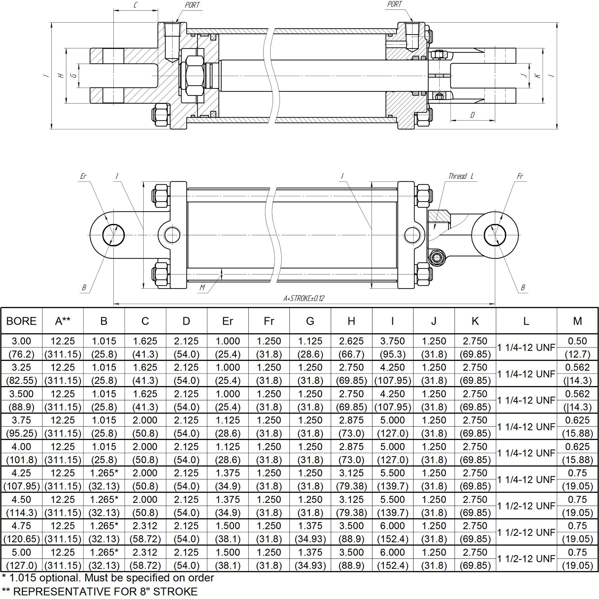 3.75 bore x 8 stroke CROSS rephasing hydraulic cylinder, tie rod double acting cylinder DR series | CROSS MANUFACTURING