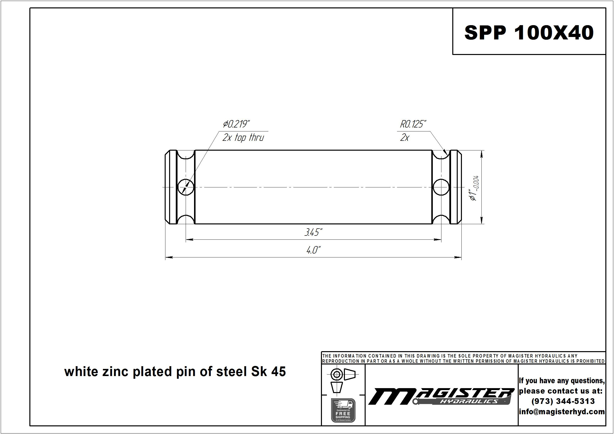 1 pin diameter x 4 long steel pivot pin for hydraulic cylinder