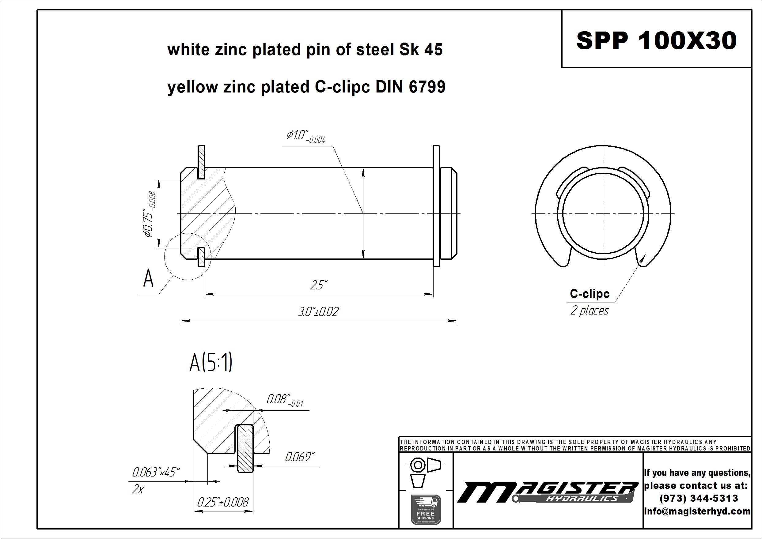 1 pin diameter x 3 long steel pivot pin for hydraulic cylinder